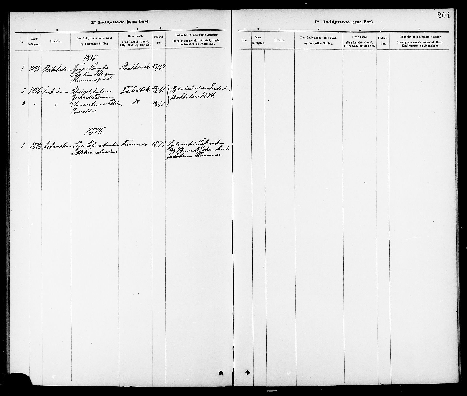 SAT, Ministerialprotokoller, klokkerbøker og fødselsregistre - Nord-Trøndelag, 744/L0423: Klokkerbok nr. 744C02, 1886-1905, s. 204