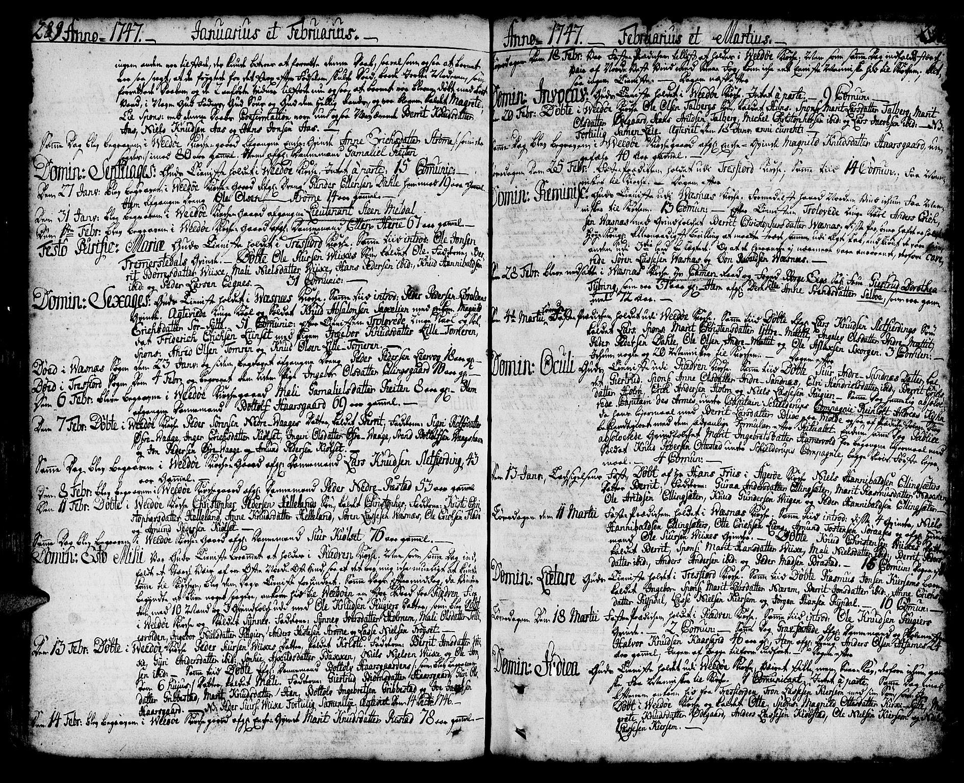 SAT, Ministerialprotokoller, klokkerbøker og fødselsregistre - Møre og Romsdal, 547/L0599: Ministerialbok nr. 547A01, 1721-1764, s. 288-289