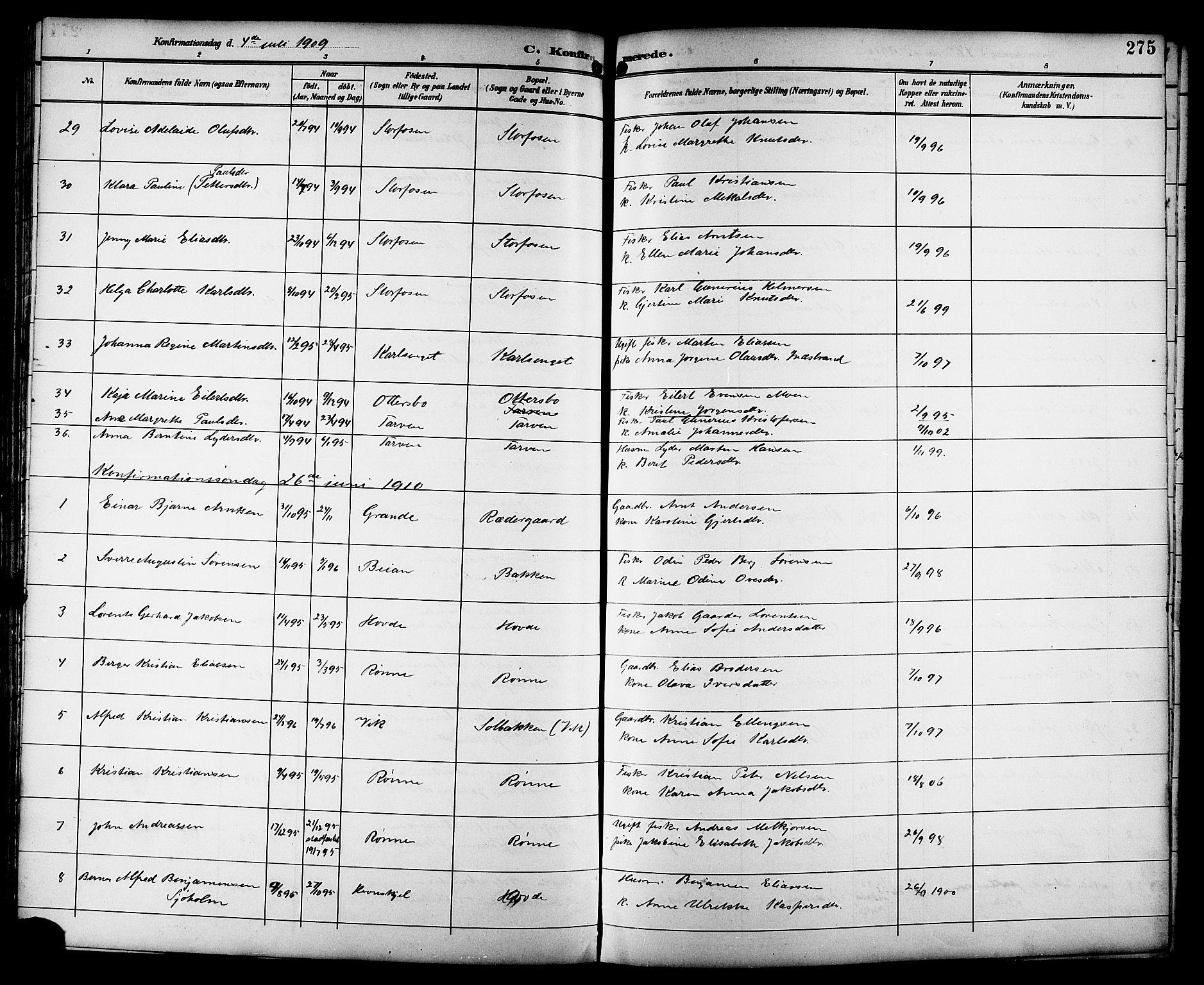 SAT, Ministerialprotokoller, klokkerbøker og fødselsregistre - Sør-Trøndelag, 659/L0746: Klokkerbok nr. 659C03, 1893-1912, s. 275