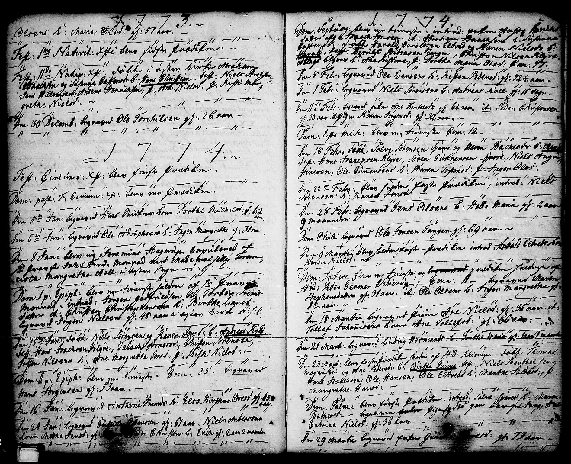 SAKO, Porsgrunn kirkebøker , F/Fa/L0001: Ministerialbok nr. 1, 1764-1814, s. 54-55