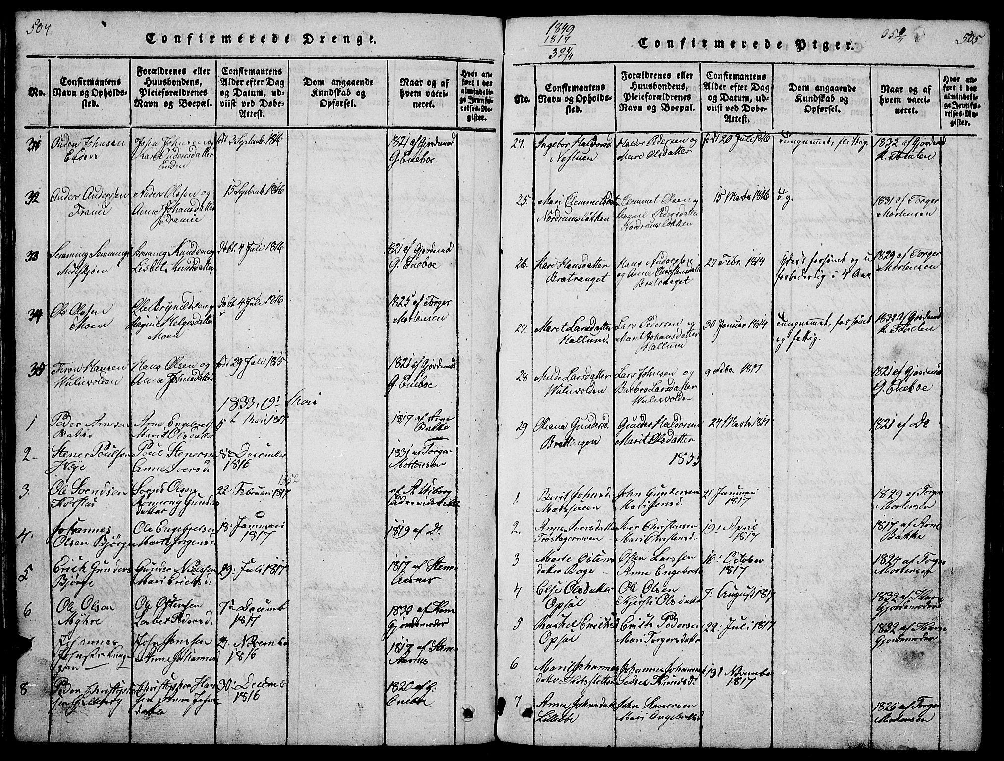 SAH, Ringebu prestekontor, Klokkerbok nr. 1, 1821-1839, s. 504-505