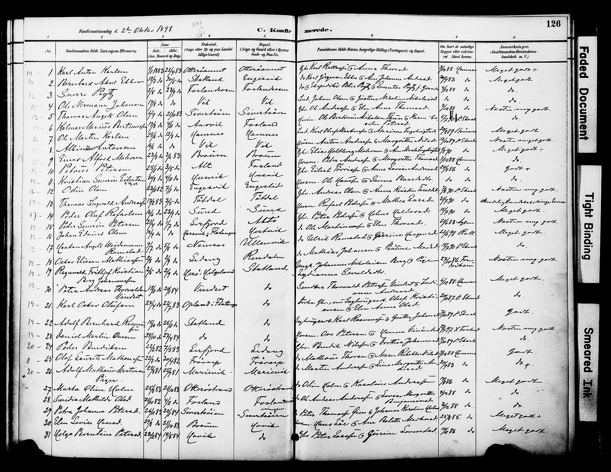 SAT, Ministerialprotokoller, klokkerbøker og fødselsregistre - Nord-Trøndelag, 774/L0628: Ministerialbok nr. 774A02, 1887-1903, s. 126