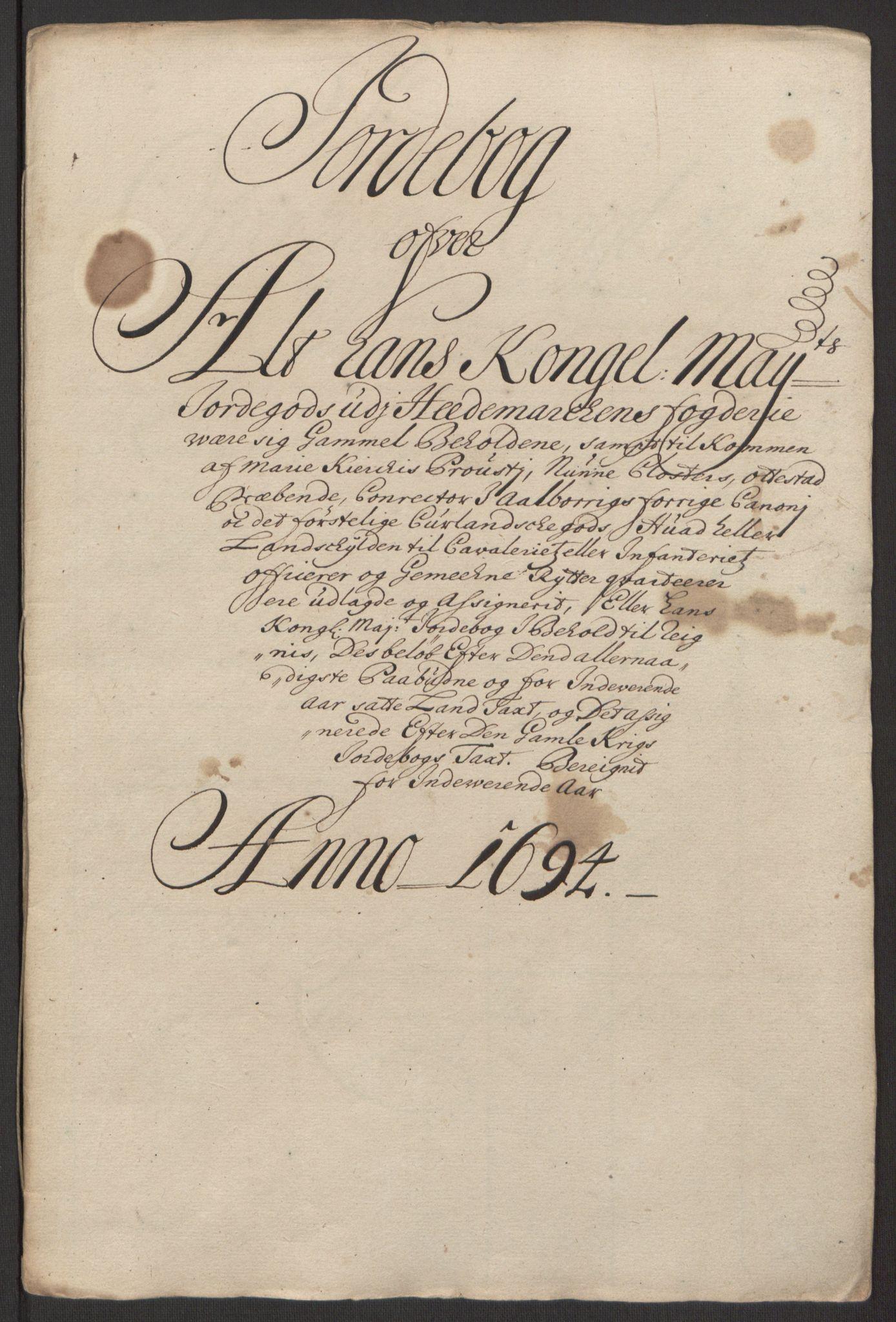 RA, Rentekammeret inntil 1814, Reviderte regnskaper, Fogderegnskap, R16/L1035: Fogderegnskap Hedmark, 1694, s. 34