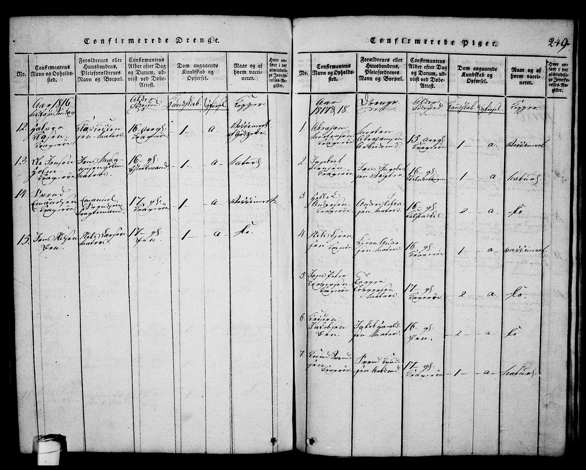 SAKO, Kragerø kirkebøker, G/Ga/L0002: Klokkerbok nr. 2, 1814-1831, s. 249