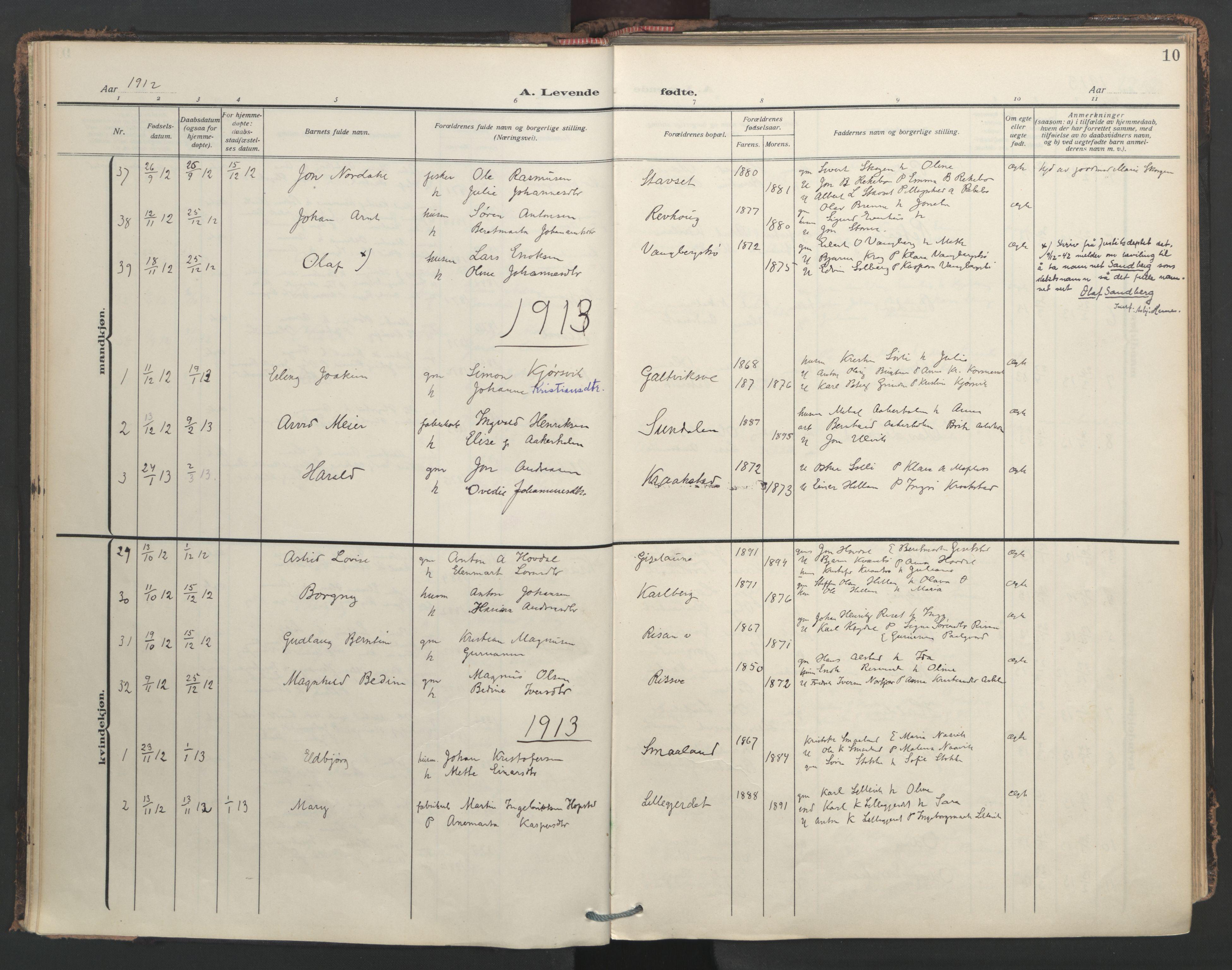 SAT, Ministerialprotokoller, klokkerbøker og fødselsregistre - Nord-Trøndelag, 713/L0123: Ministerialbok nr. 713A12, 1911-1925, s. 10