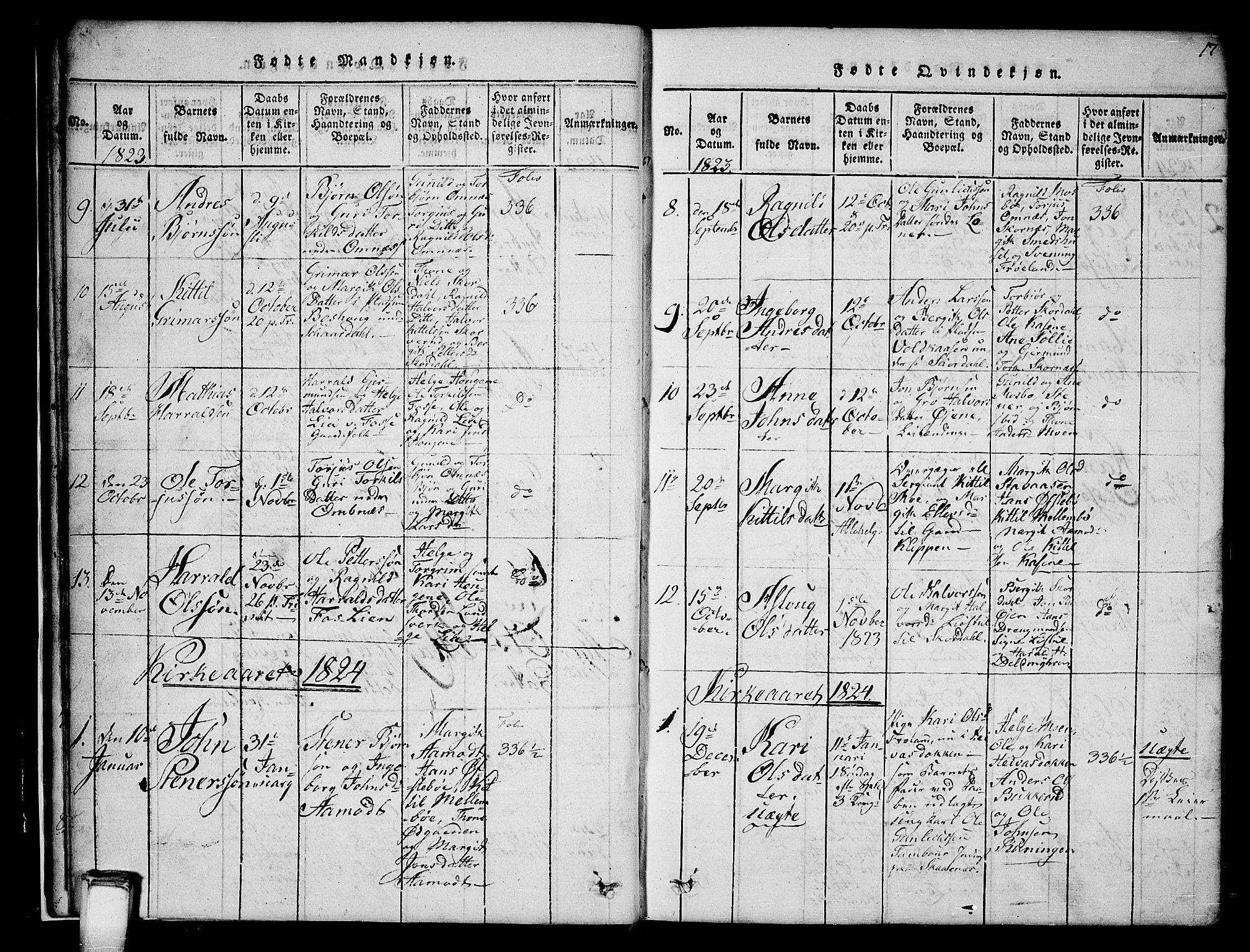 SAKO, Hjartdal kirkebøker, G/Gb/L0001: Klokkerbok nr. II 1, 1815-1842, s. 17