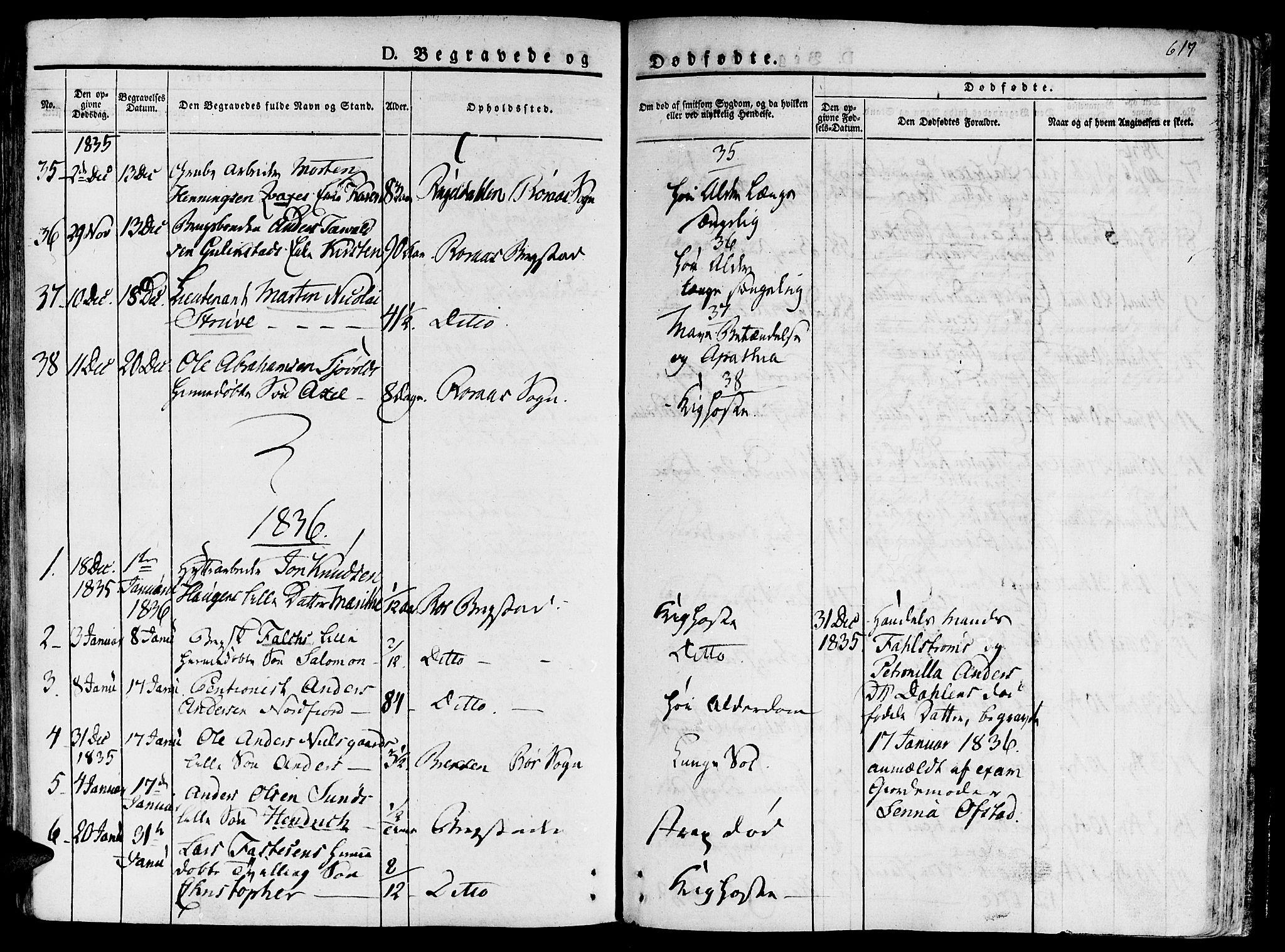 SAT, Ministerialprotokoller, klokkerbøker og fødselsregistre - Sør-Trøndelag, 681/L0930: Ministerialbok nr. 681A08, 1829-1844, s. 617