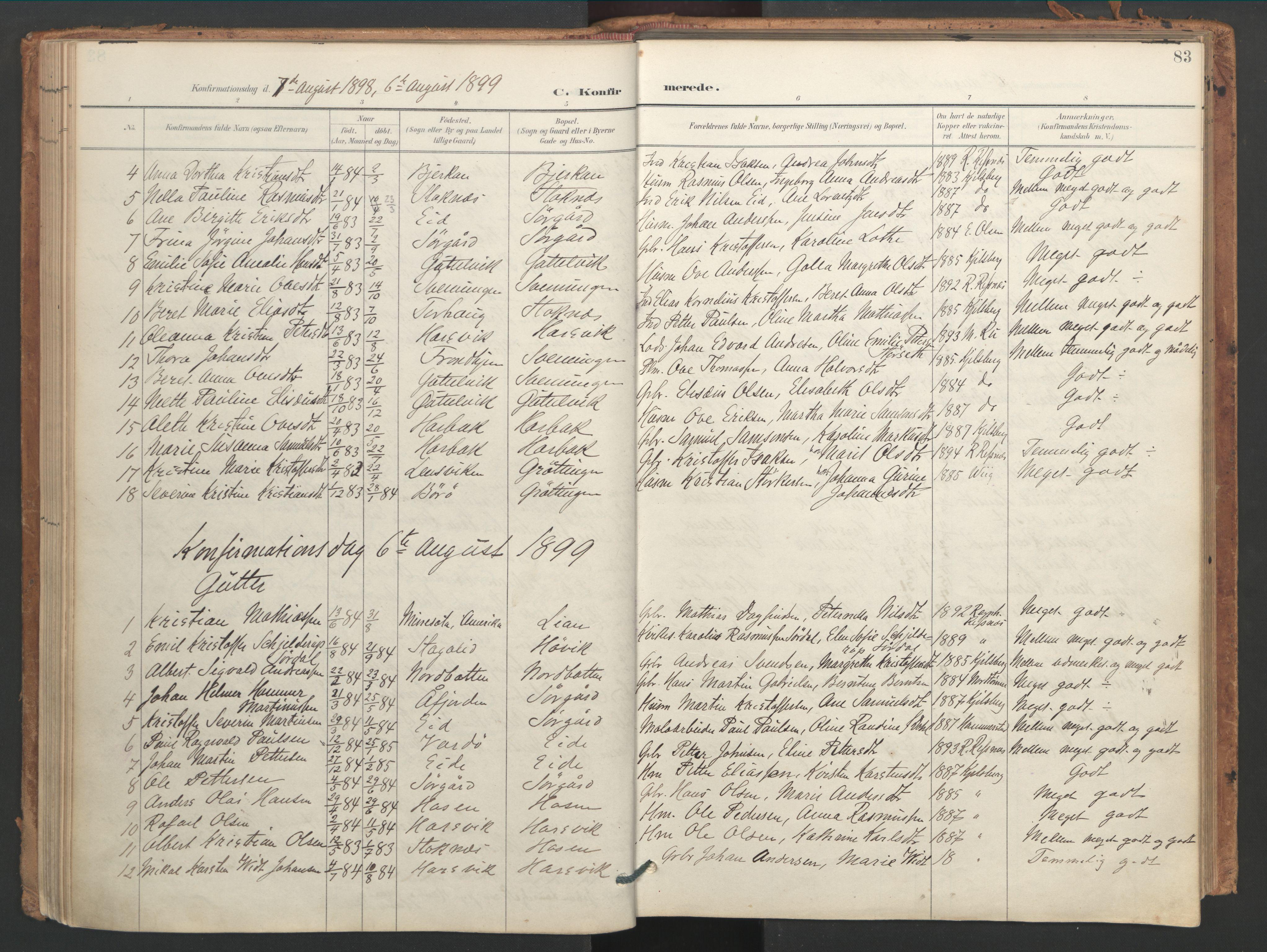 SAT, Ministerialprotokoller, klokkerbøker og fødselsregistre - Sør-Trøndelag, 656/L0693: Ministerialbok nr. 656A02, 1894-1913, s. 83