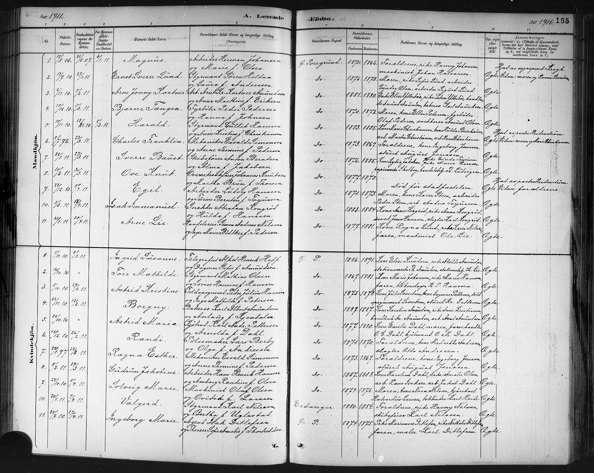 SAKO, Porsgrunn kirkebøker , G/Gb/L0005: Klokkerbok nr. II 5, 1883-1915, s. 185