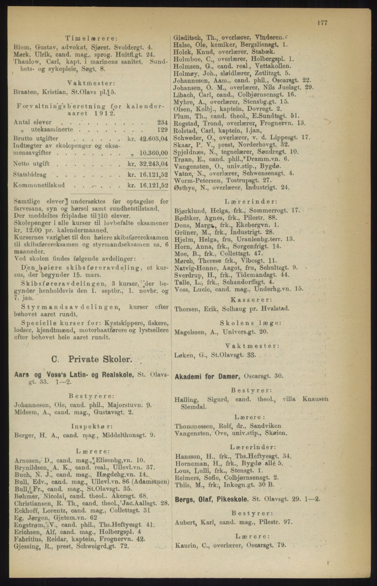 RA, Kristiania adressebok (publikasjon)*, 1914, s. 177