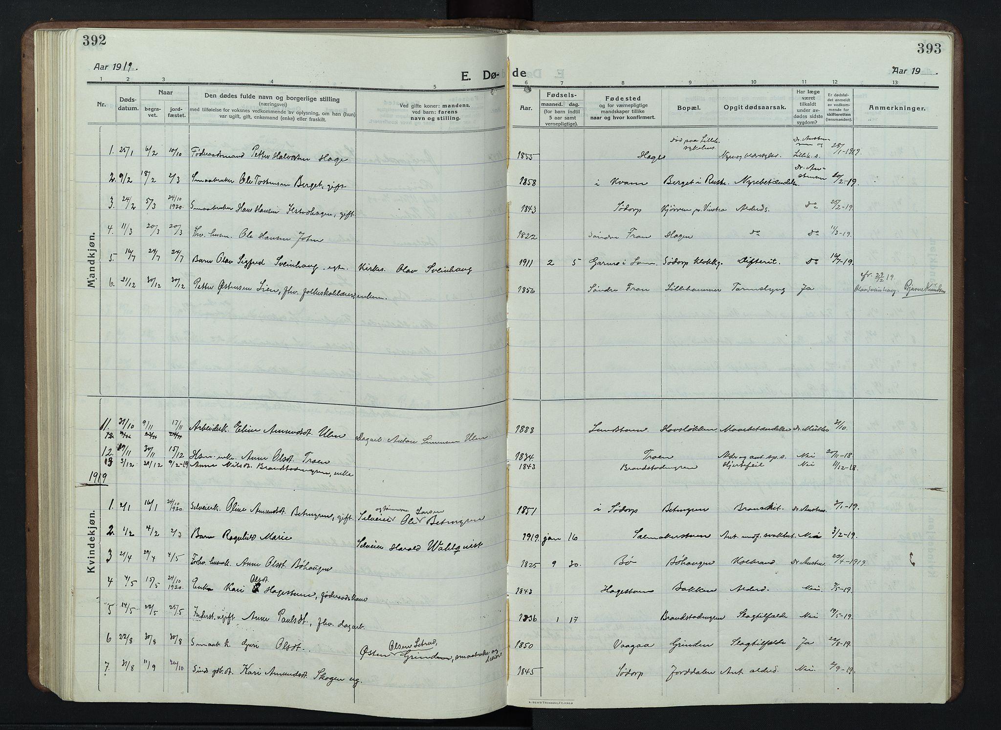 SAH, Nord-Fron prestekontor, Klokkerbok nr. 7, 1915-1946, s. 392-393