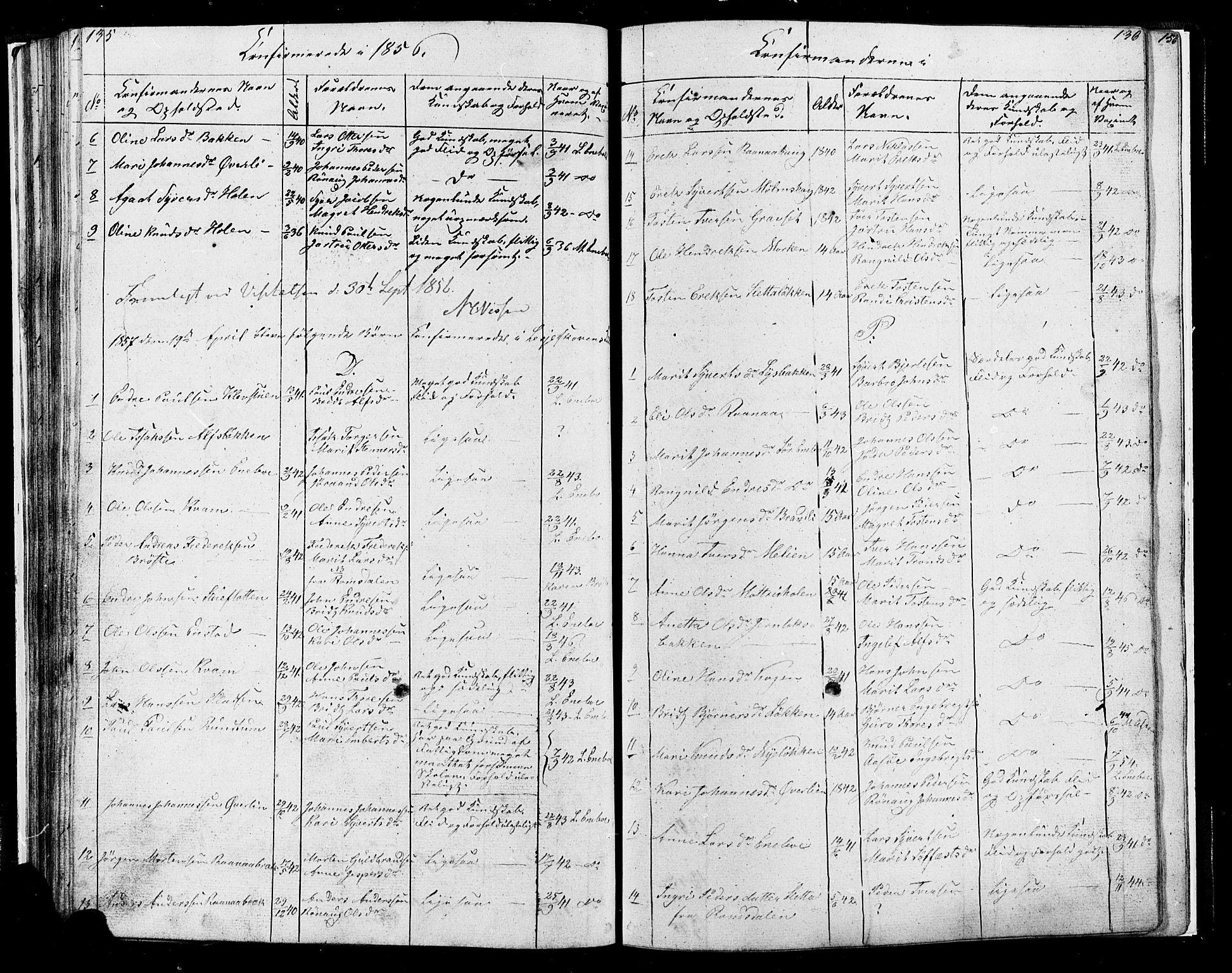 SAH, Lesja prestekontor, Klokkerbok nr. 4, 1842-1871, s. 135-136