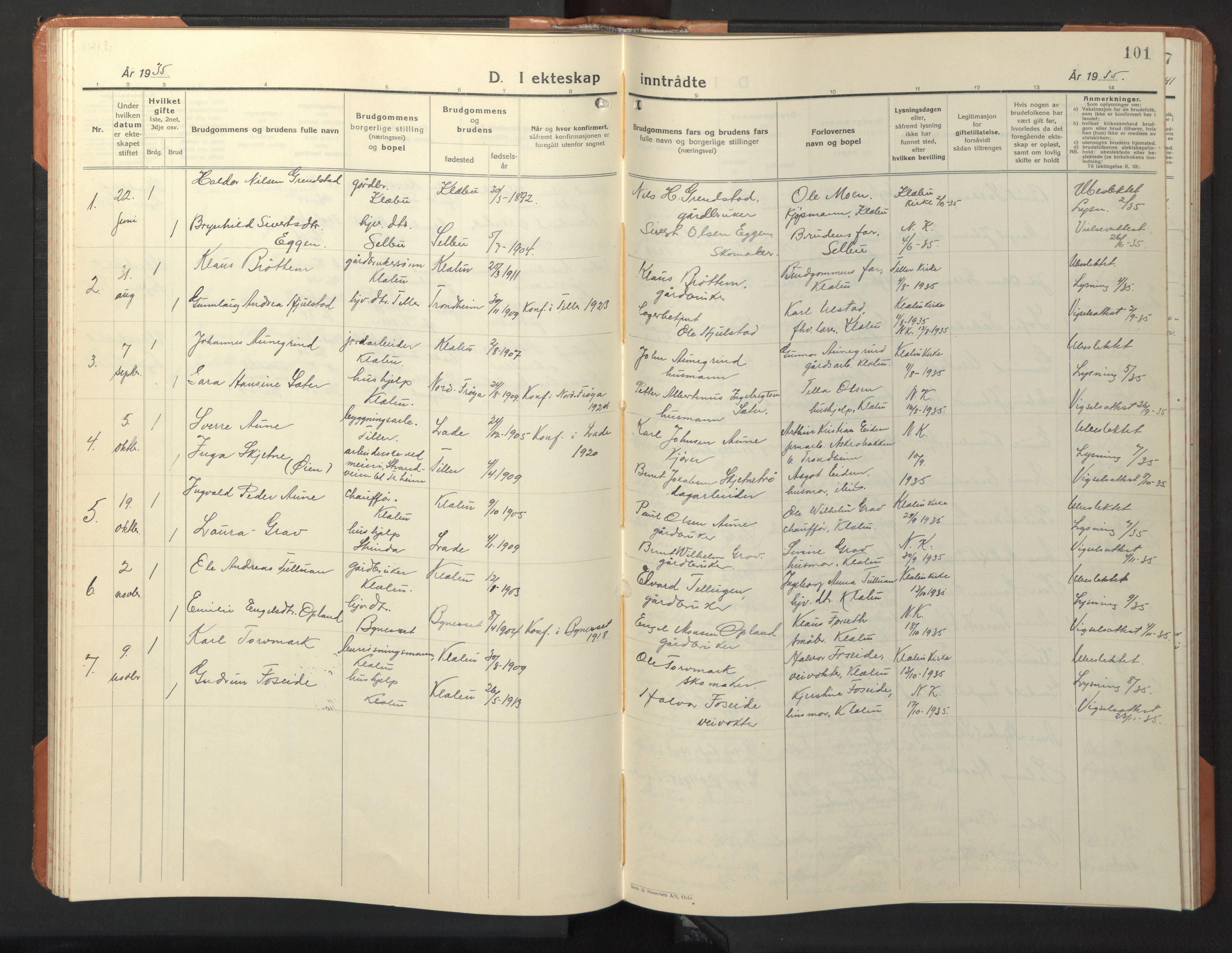 SAT, Ministerialprotokoller, klokkerbøker og fødselsregistre - Sør-Trøndelag, 618/L0454: Klokkerbok nr. 618C05, 1926-1946, s. 101