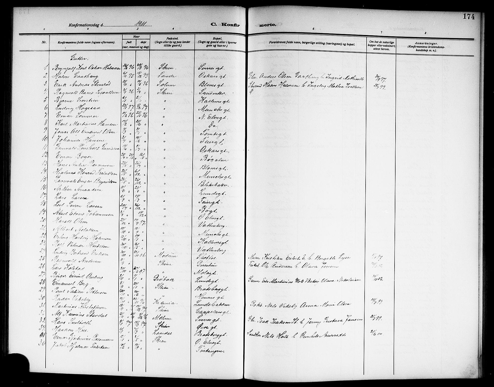 SAKO, Skien kirkebøker, G/Ga/L0009: Klokkerbok nr. 9, 1910-1920, s. 174