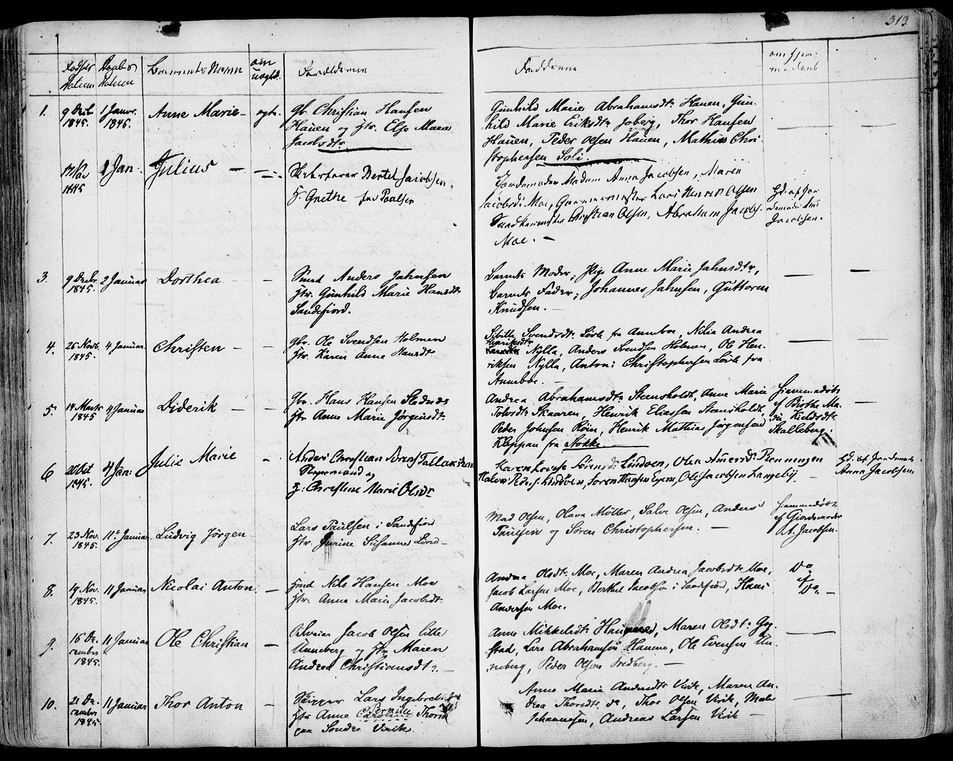 SAKO, Sandar kirkebøker, F/Fa/L0005: Ministerialbok nr. 5, 1832-1847, s. 312-313
