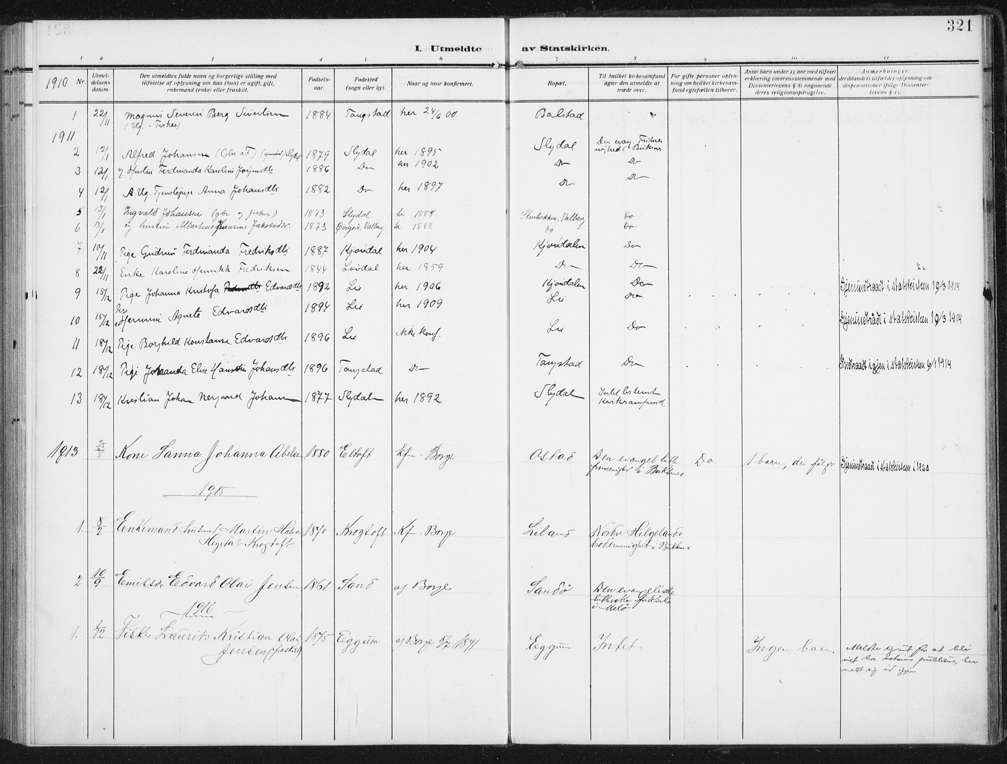SAT, Ministerialprotokoller, klokkerbøker og fødselsregistre - Nordland, 880/L1135: Ministerialbok nr. 880A09, 1908-1919, s. 321