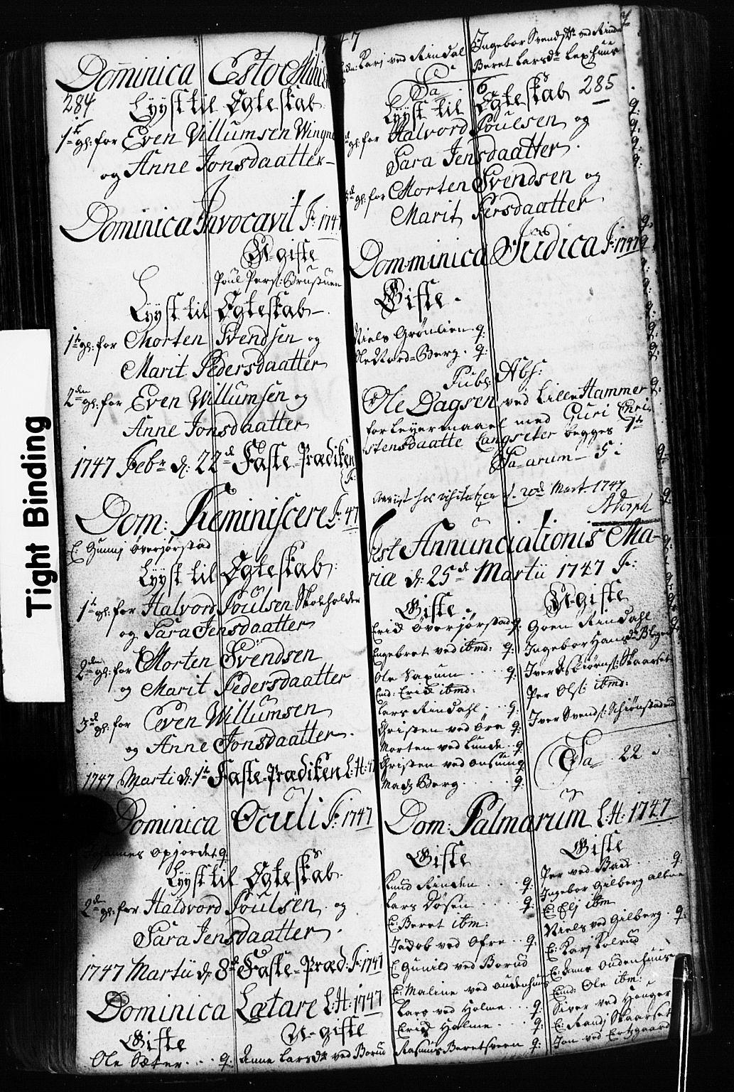 SAH, Fåberg prestekontor, Klokkerbok nr. 2, 1741-1756, s. 284-285