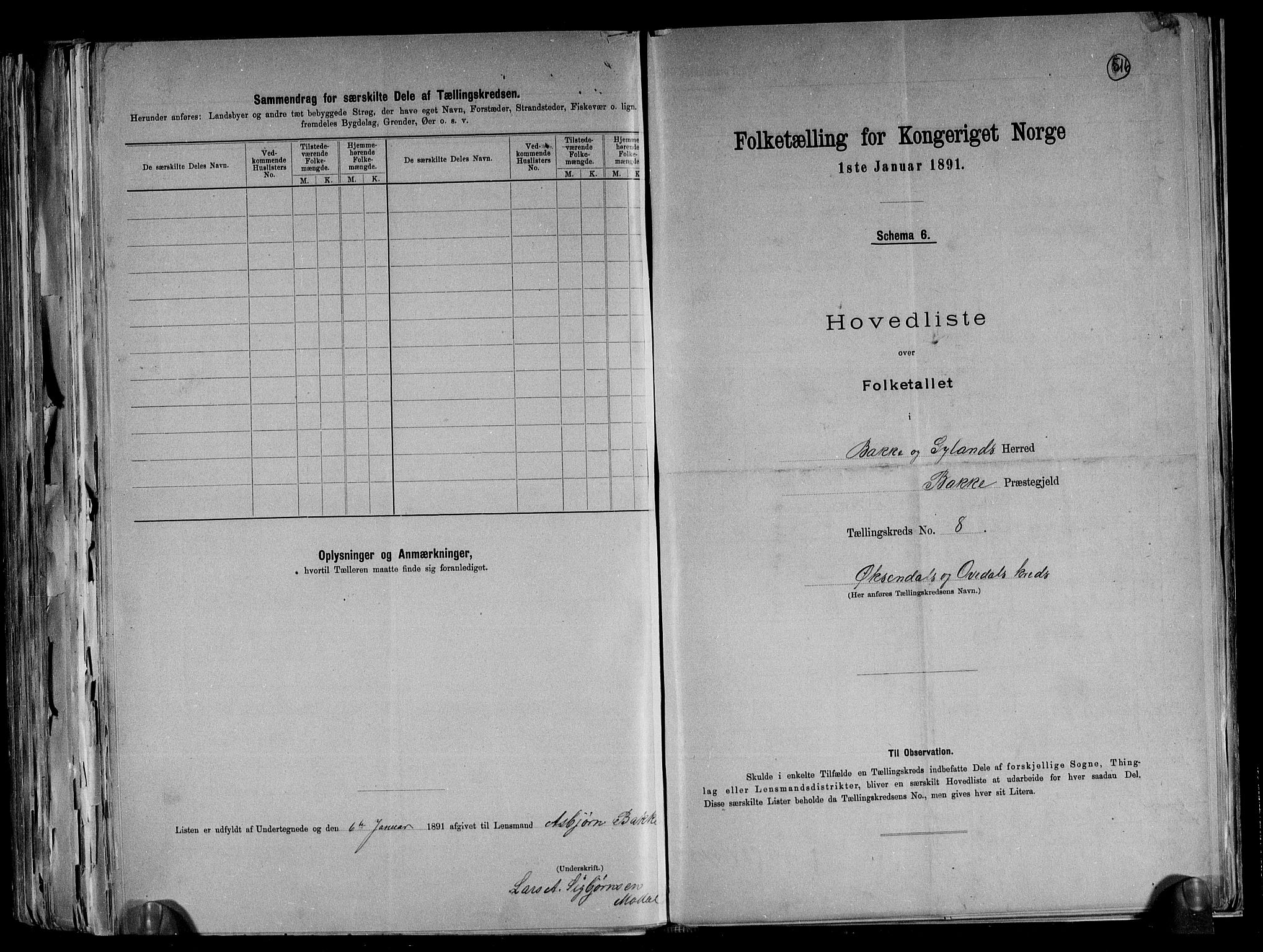 RA, Folketelling 1891 for 1045 Bakke herred, 1891, s. 19