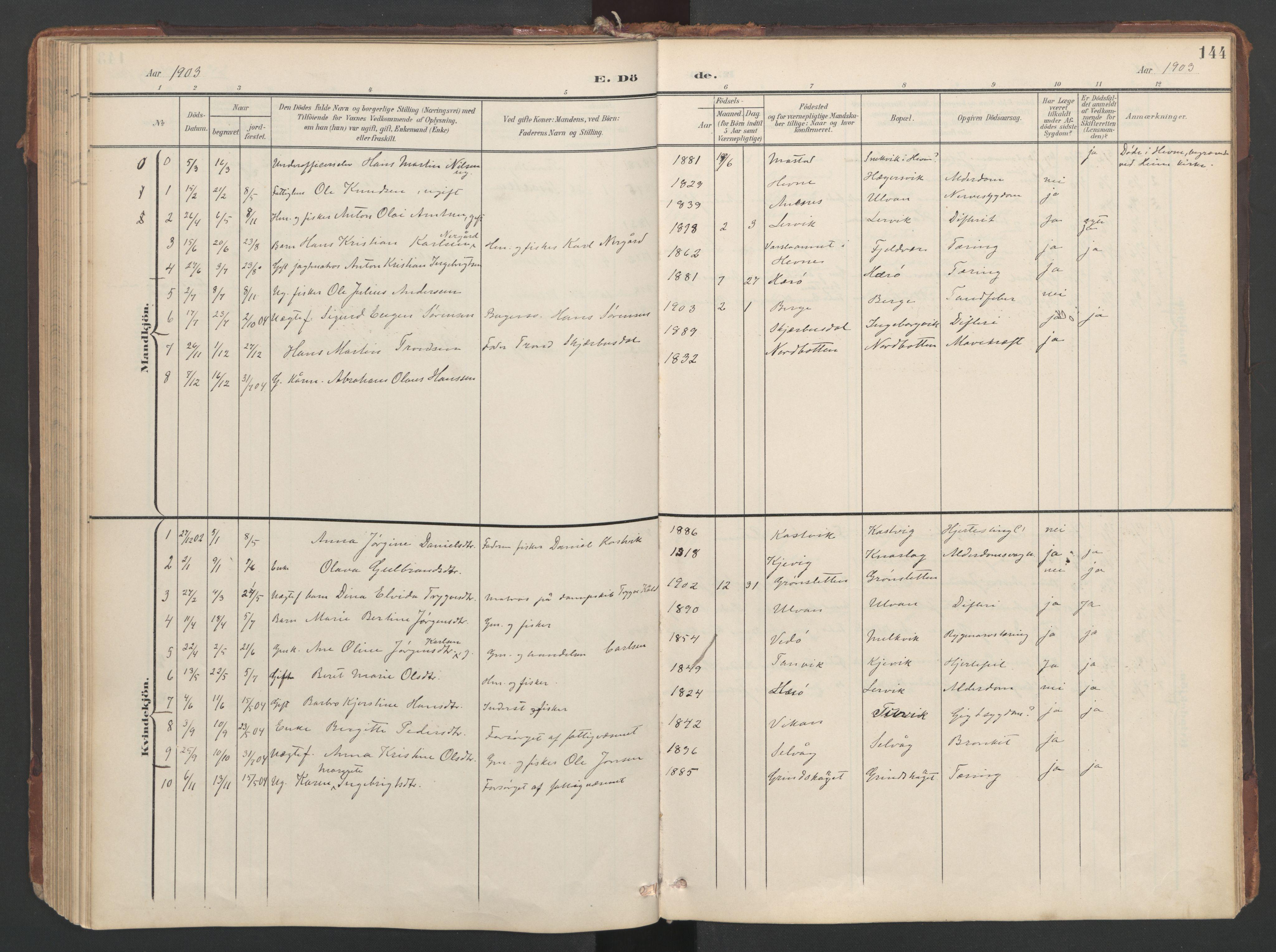 SAT, Ministerialprotokoller, klokkerbøker og fødselsregistre - Sør-Trøndelag, 638/L0568: Ministerialbok nr. 638A01, 1901-1916, s. 144