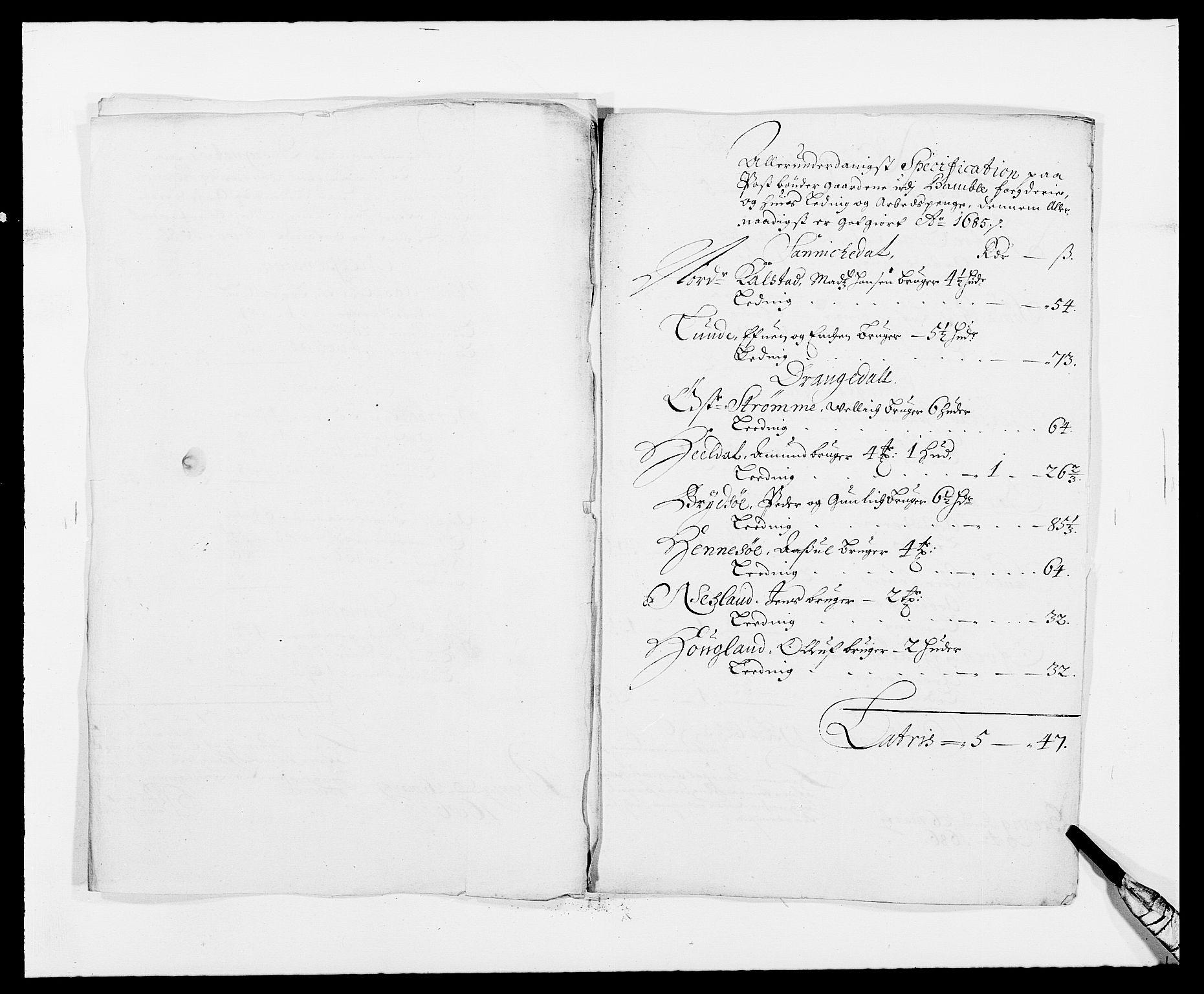 RA, Rentekammeret inntil 1814, Reviderte regnskaper, Fogderegnskap, R34/L2048: Fogderegnskap Bamble, 1685-1687, s. 189
