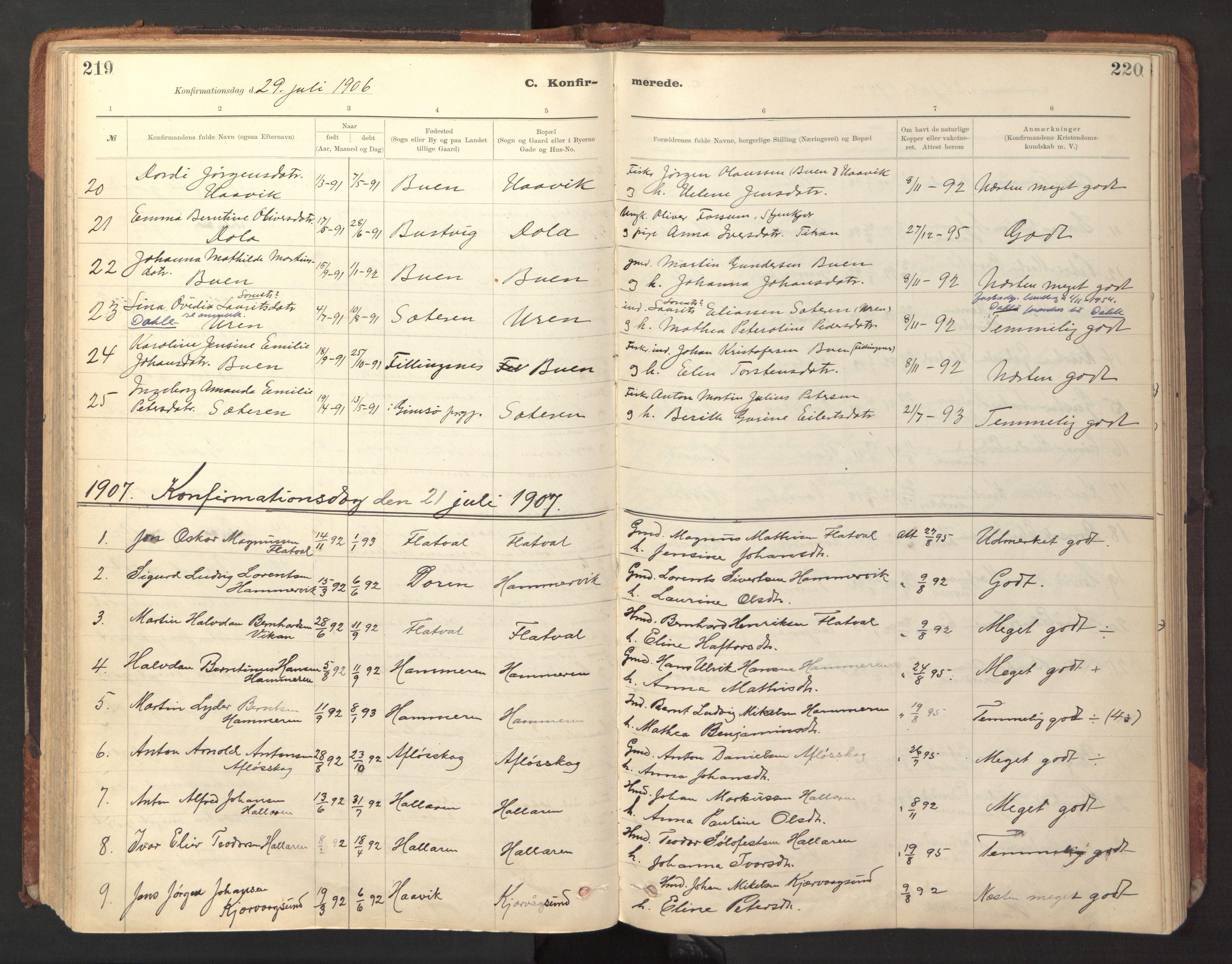 SAT, Ministerialprotokoller, klokkerbøker og fødselsregistre - Sør-Trøndelag, 641/L0596: Ministerialbok nr. 641A02, 1898-1915, s. 219-220