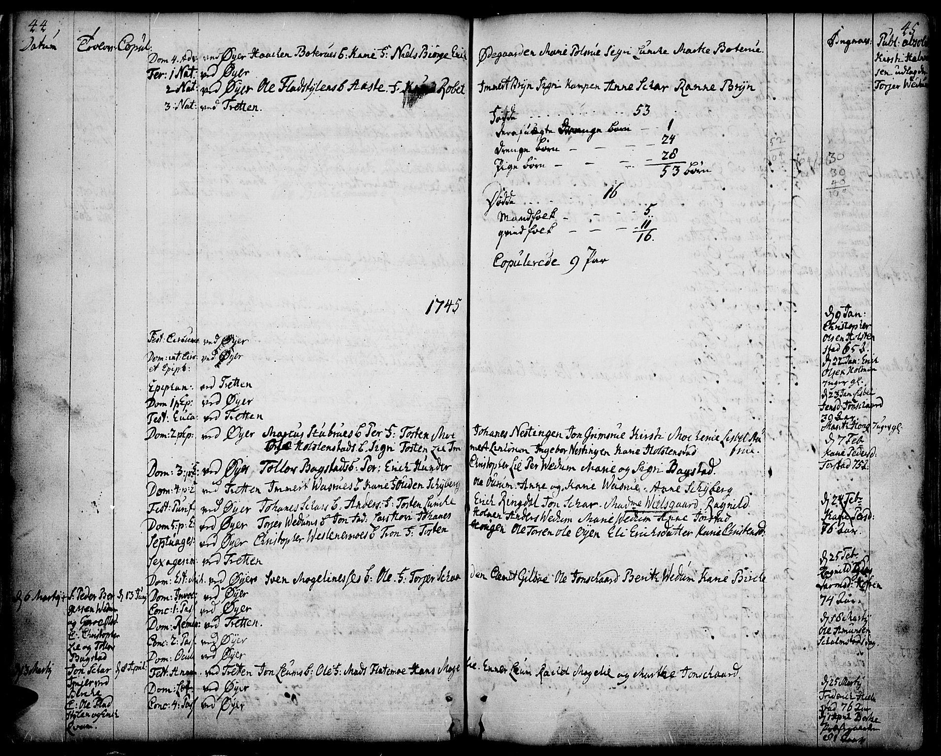 SAH, Øyer prestekontor, Ministerialbok nr. 2, 1733-1784, s. 44-45