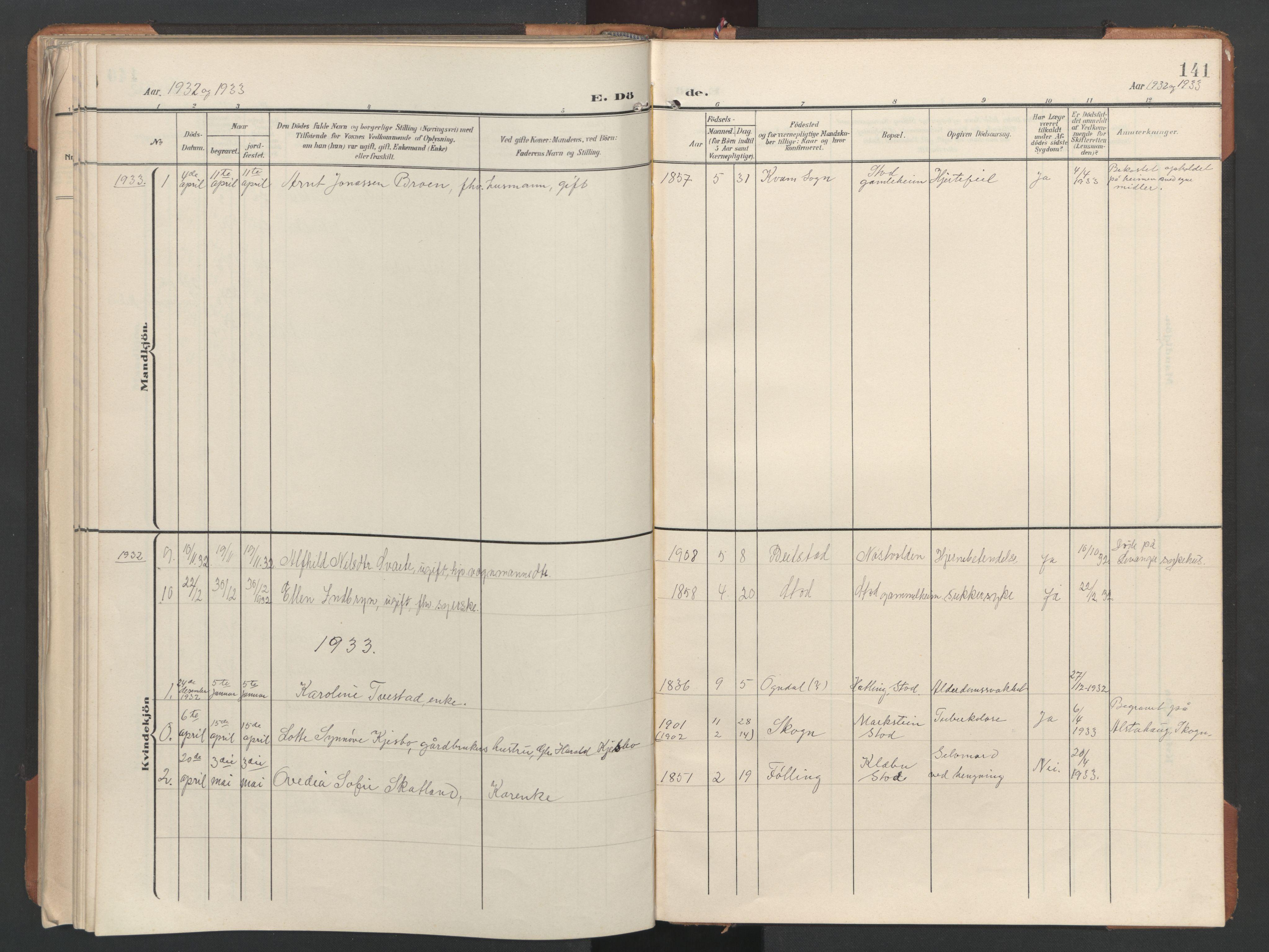 SAT, Ministerialprotokoller, klokkerbøker og fødselsregistre - Nord-Trøndelag, 746/L0455: Klokkerbok nr. 746C01, 1908-1933, s. 141