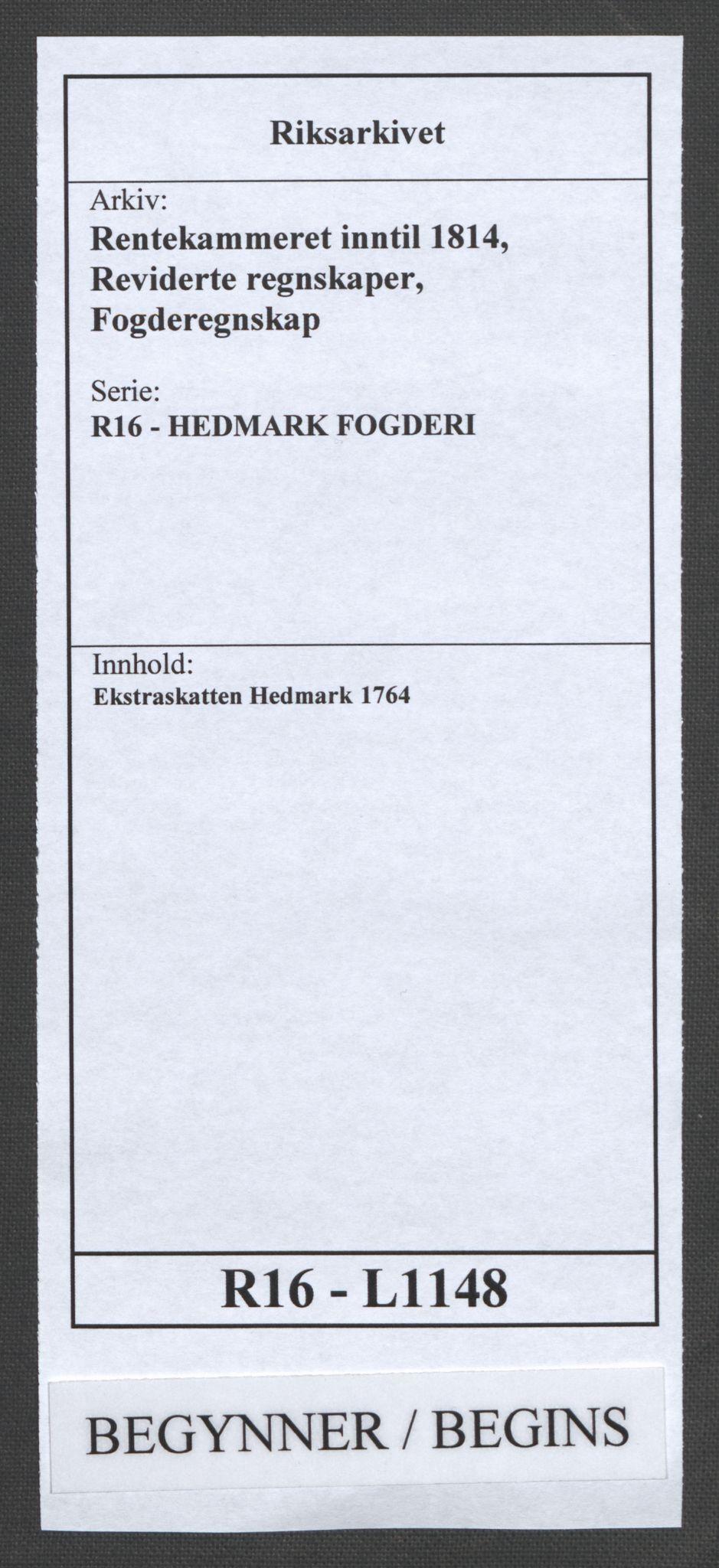 RA, Rentekammeret inntil 1814, Reviderte regnskaper, Fogderegnskap, R16/L1148: Ekstraskatten Hedmark, 1764, s. 1