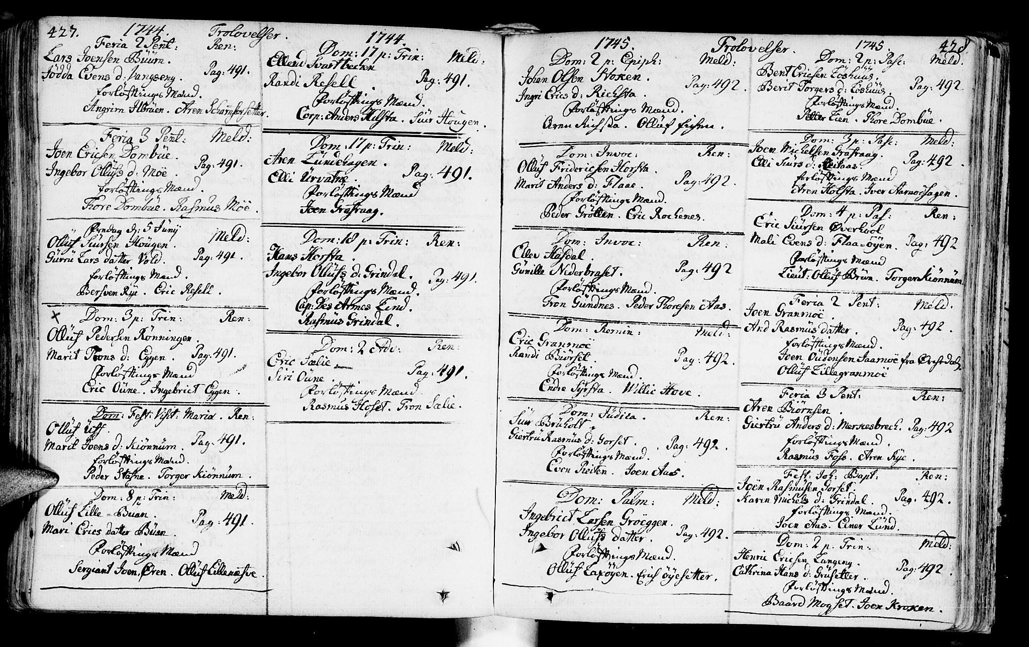 SAT, Ministerialprotokoller, klokkerbøker og fødselsregistre - Sør-Trøndelag, 672/L0850: Ministerialbok nr. 672A03, 1725-1751, s. 427-428