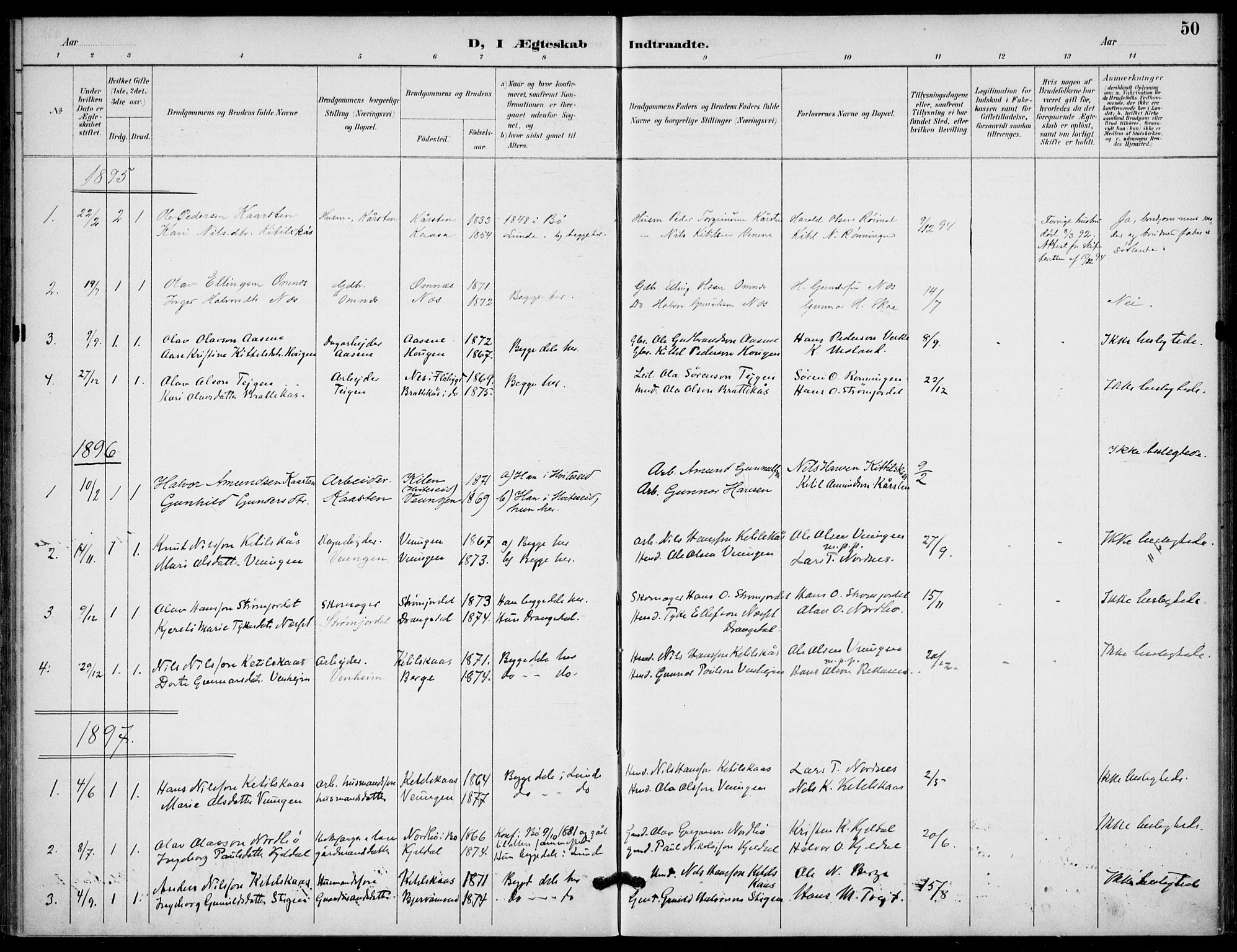 SAKO, Lunde kirkebøker, F/Fb/L0004: Ministerialbok nr. II 4, 1892-1907, s. 50