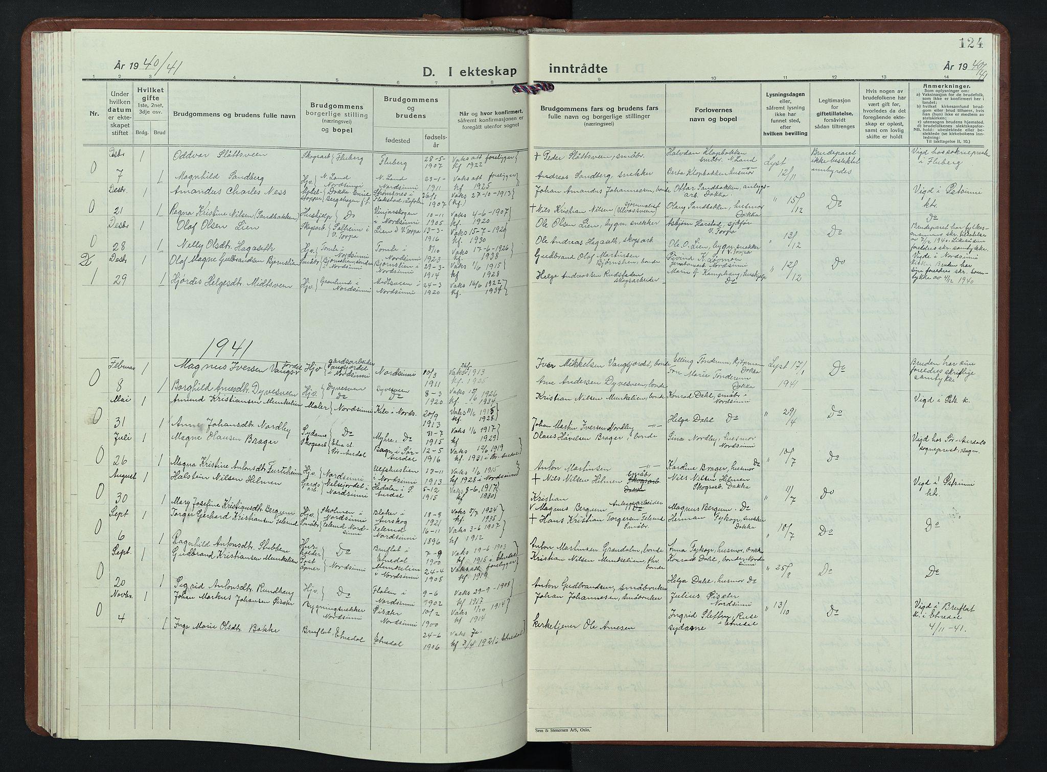 SAH, Nordre Land prestekontor, Klokkerbok nr. 7, 1930-1953, s. 124