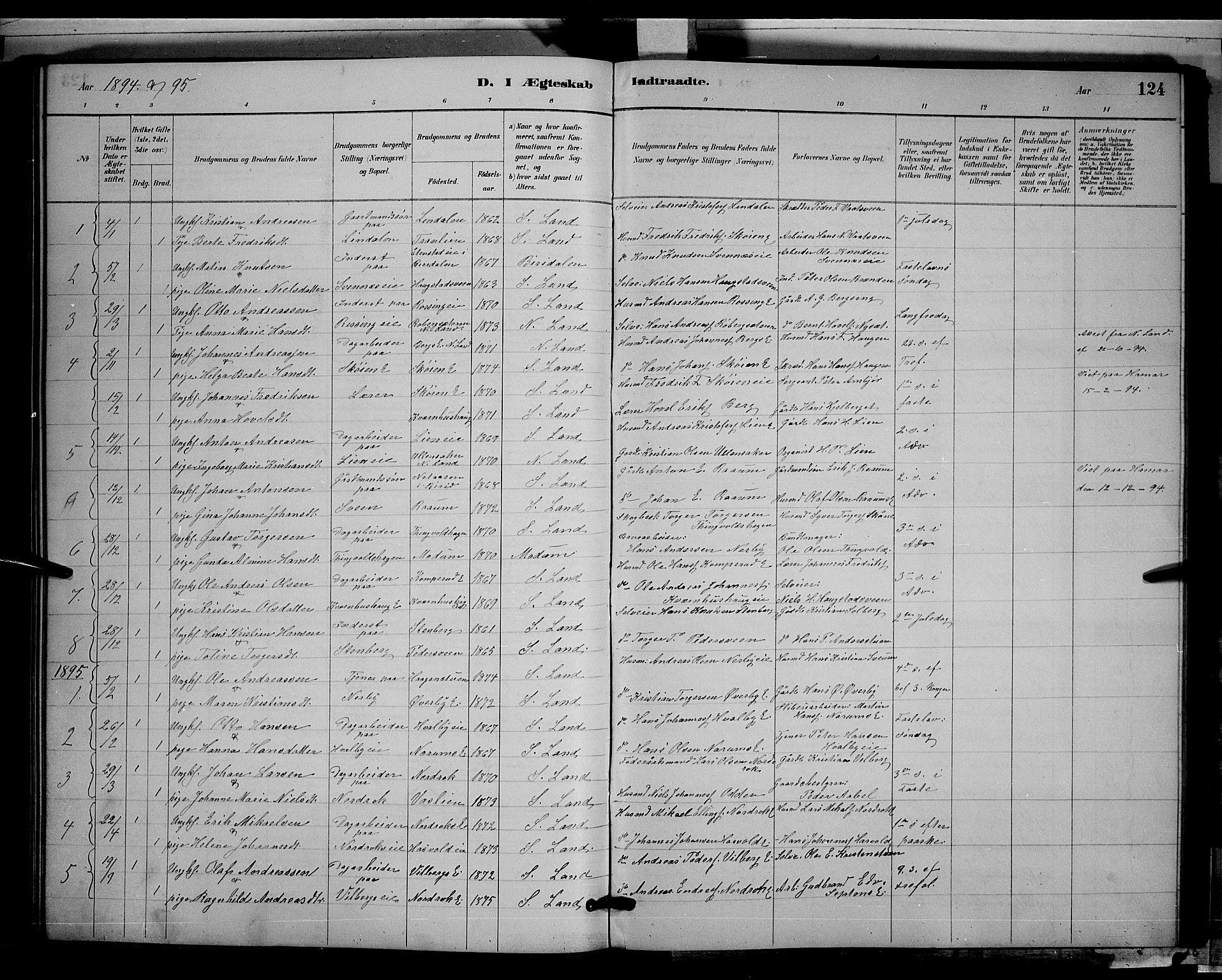 SAH, Søndre Land prestekontor, L/L0003: Klokkerbok nr. 3, 1884-1902, s. 124