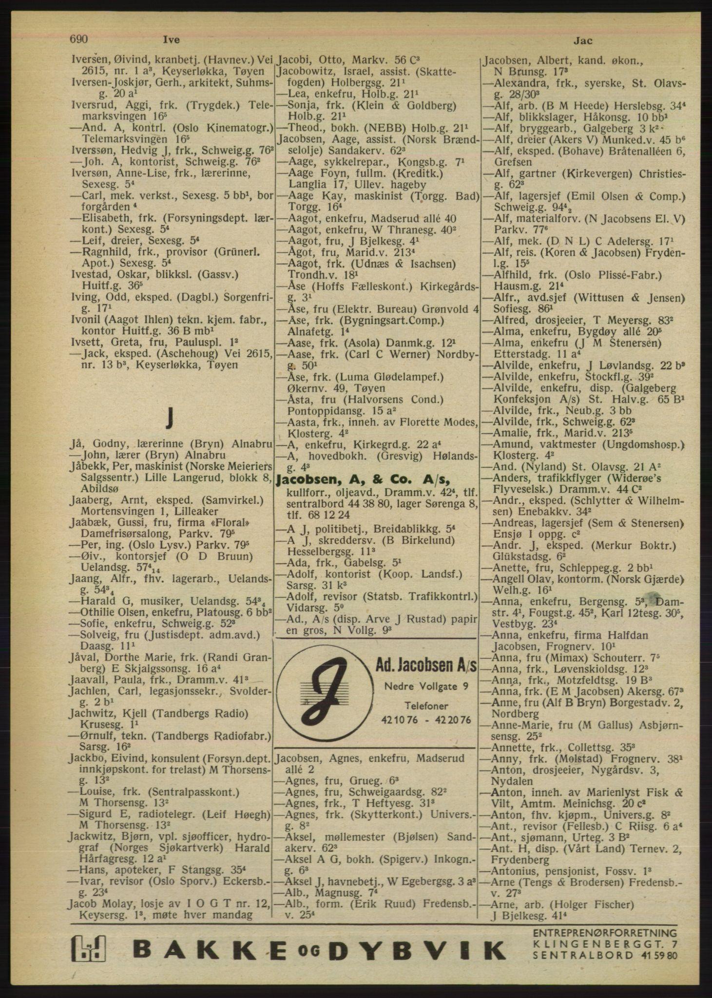 RA, Oslo adressebok (publikasjon)*, 1950, s. 690