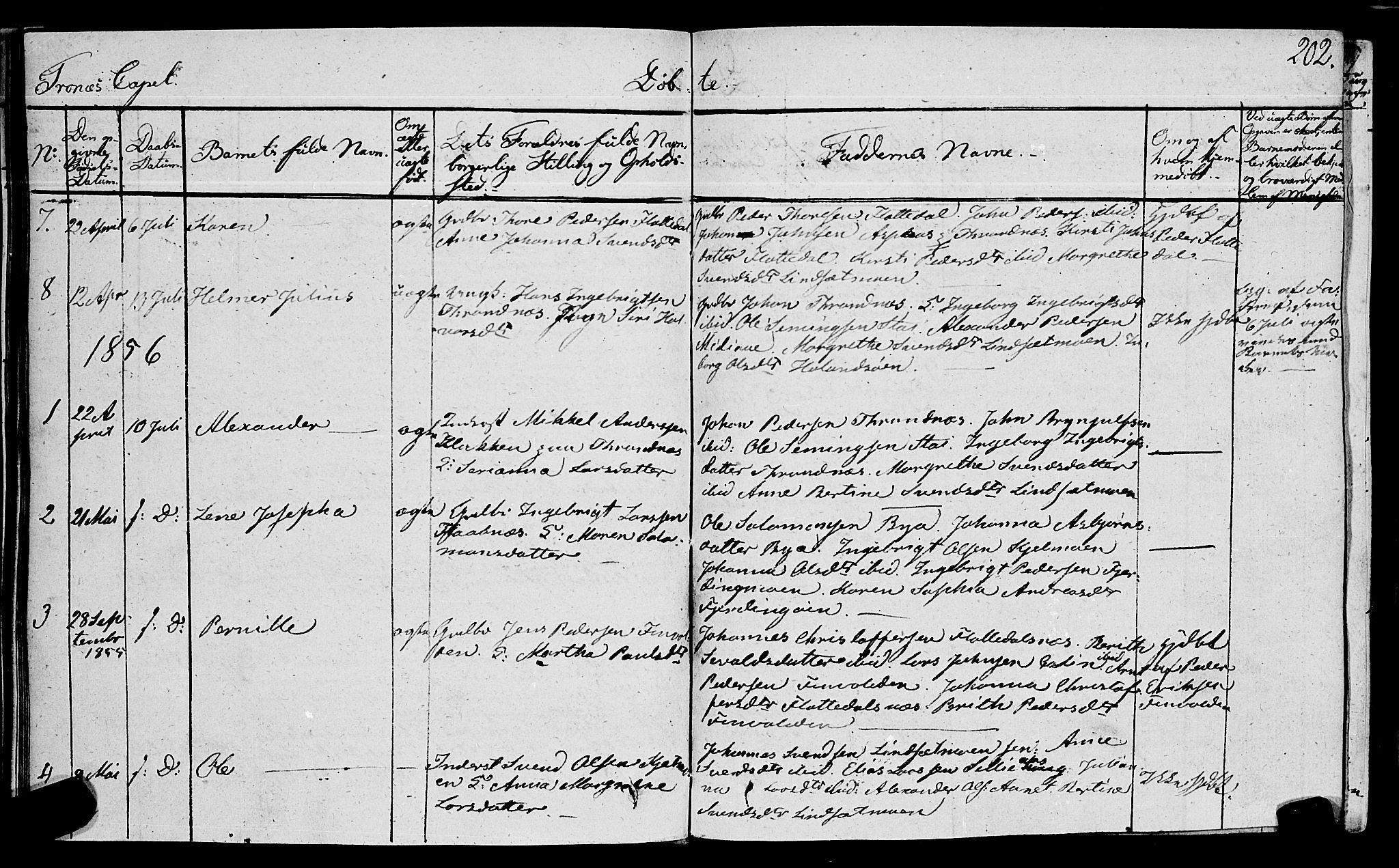 SAT, Ministerialprotokoller, klokkerbøker og fødselsregistre - Nord-Trøndelag, 762/L0538: Ministerialbok nr. 762A02 /2, 1833-1879, s. 202