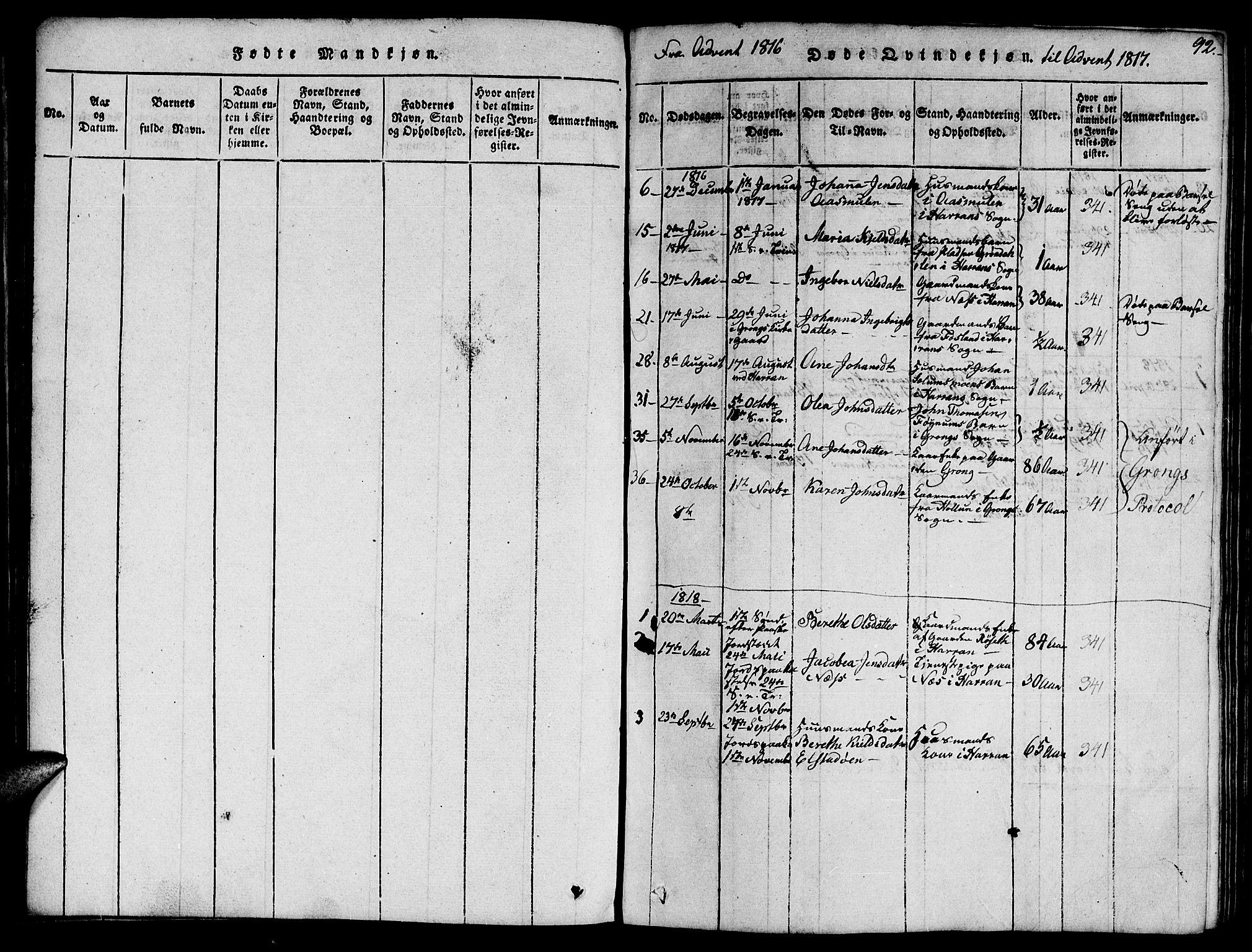 SAT, Ministerialprotokoller, klokkerbøker og fødselsregistre - Nord-Trøndelag, 759/L0527: Klokkerbok nr. 759C01 /1, 1816-1825, s. 92
