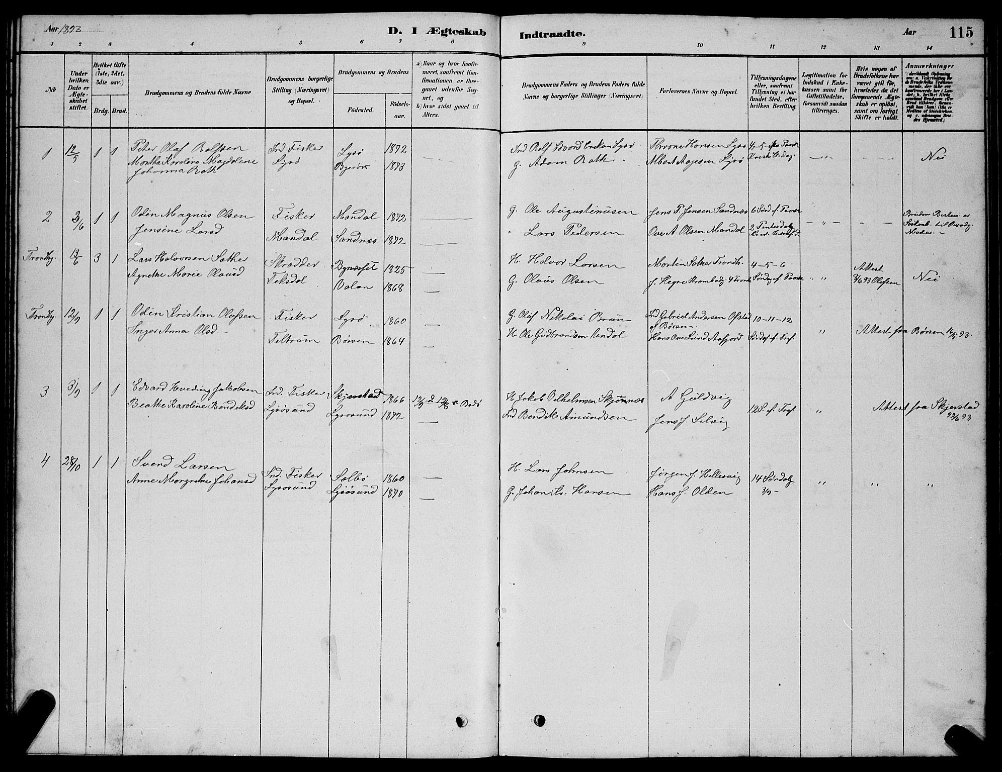SAT, Ministerialprotokoller, klokkerbøker og fødselsregistre - Sør-Trøndelag, 654/L0665: Klokkerbok nr. 654C01, 1879-1901, s. 115