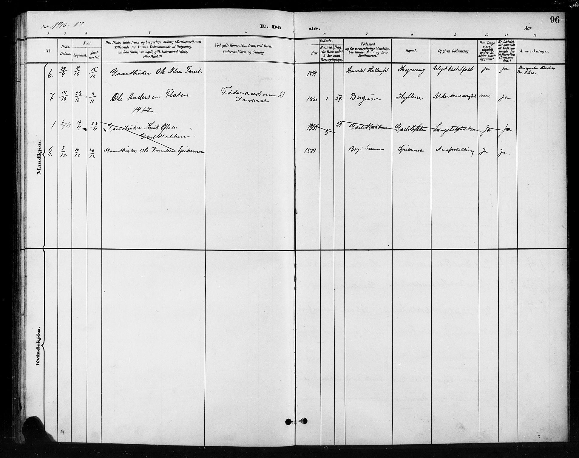 SAH, Nord-Aurdal prestekontor, Klokkerbok nr. 11, 1897-1918, s. 96