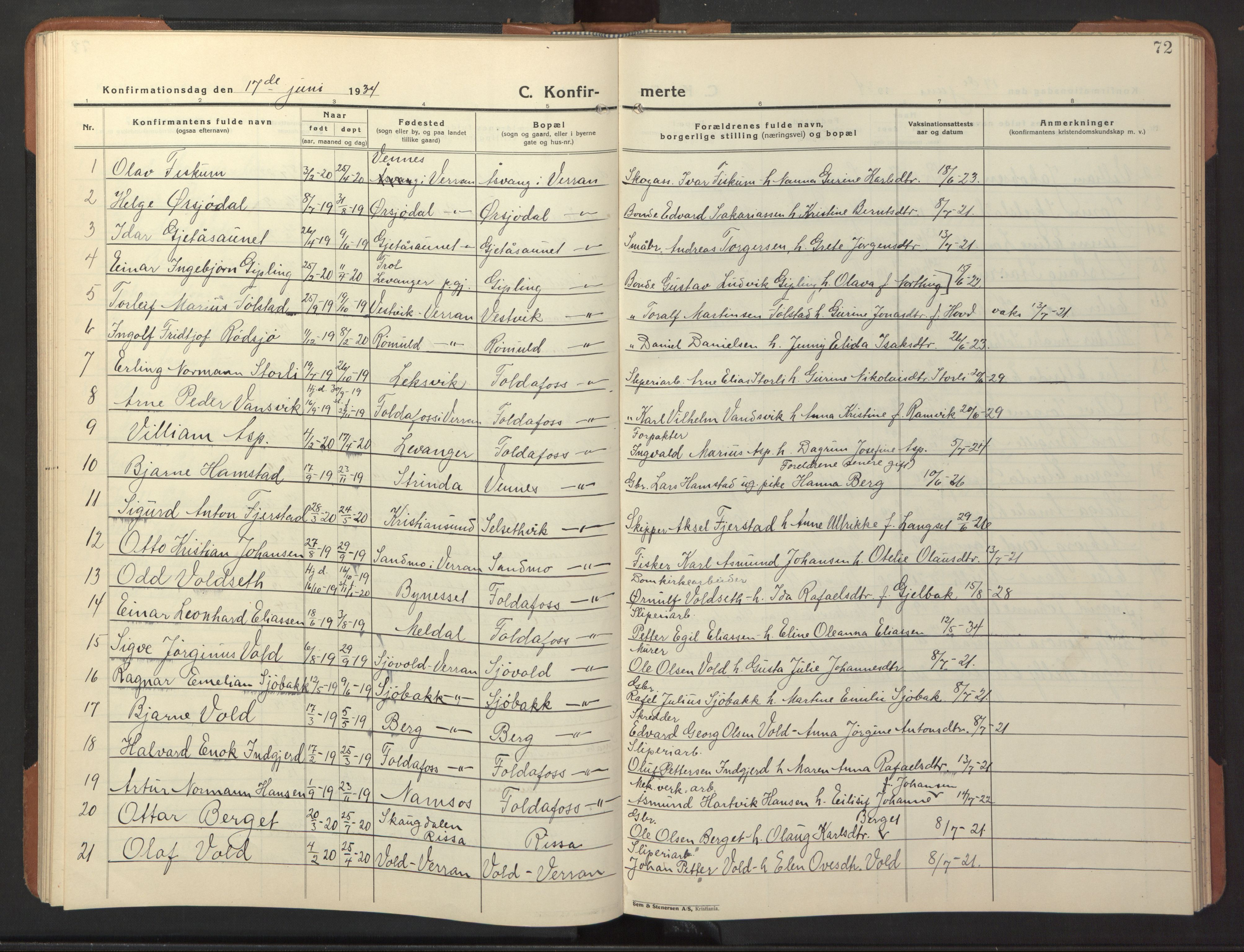 SAT, Ministerialprotokoller, klokkerbøker og fødselsregistre - Nord-Trøndelag, 744/L0425: Klokkerbok nr. 744C04, 1924-1947, s. 72