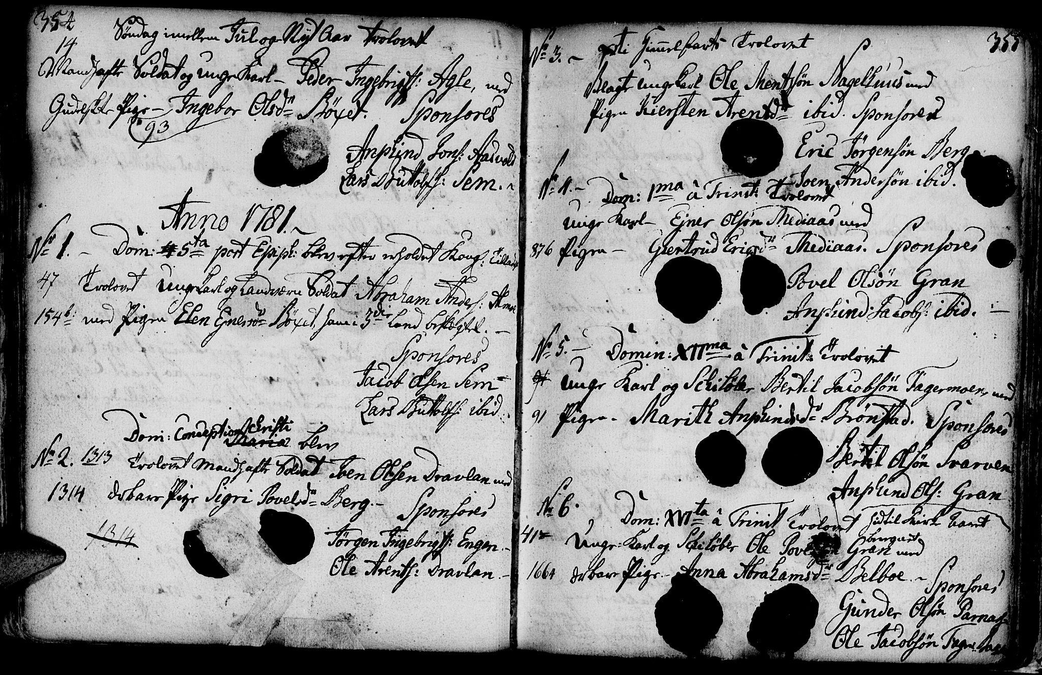 SAT, Ministerialprotokoller, klokkerbøker og fødselsregistre - Nord-Trøndelag, 749/L0467: Ministerialbok nr. 749A01, 1733-1787, s. 354-355