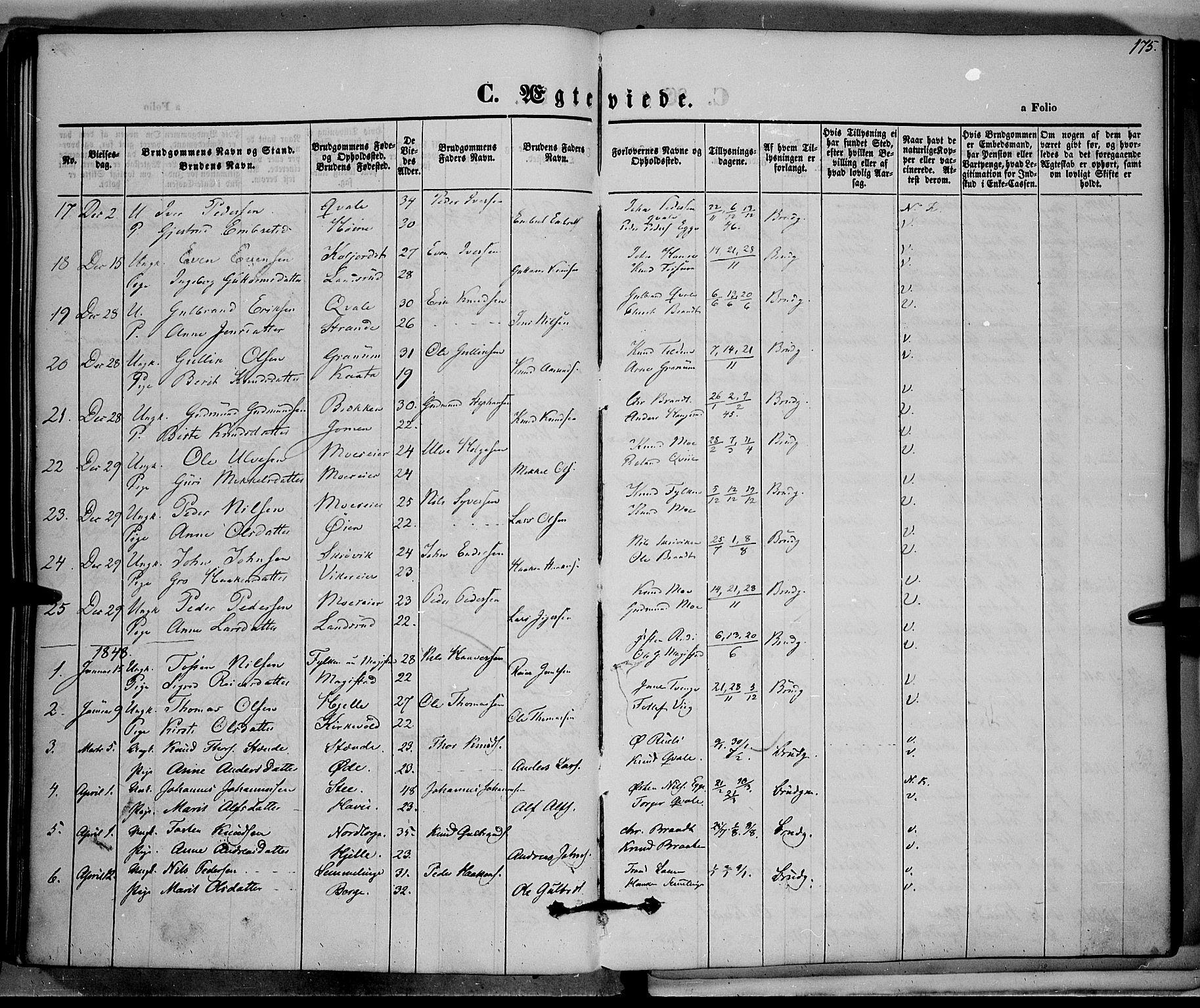 SAH, Vestre Slidre prestekontor, Ministerialbok nr. 1, 1844-1855, s. 175