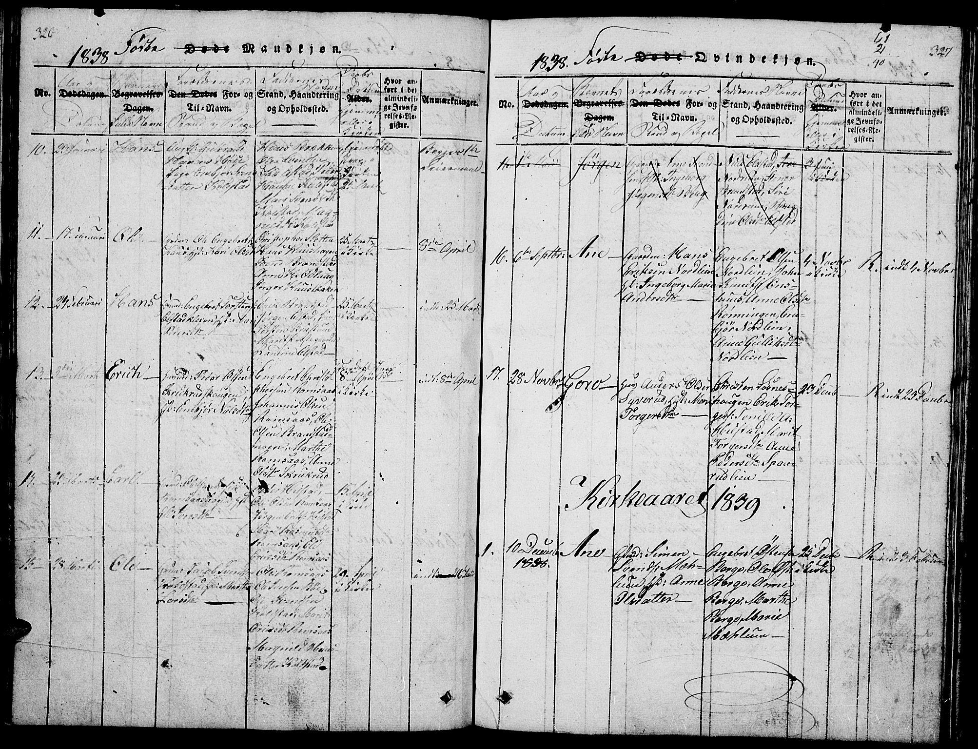 SAH, Ringebu prestekontor, Klokkerbok nr. 1, 1821-1839, s. 326-327