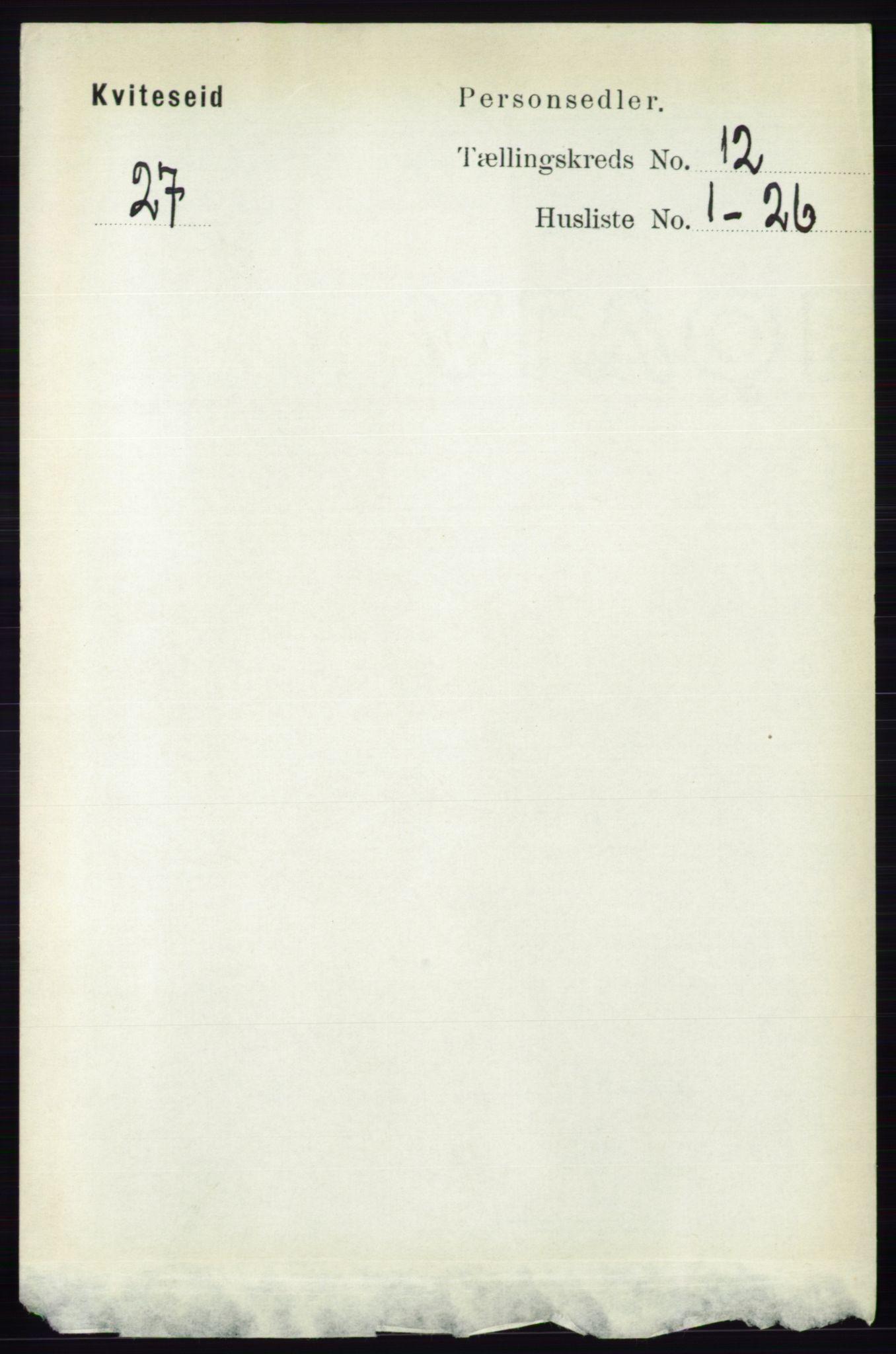 RA, Folketelling 1891 for 0829 Kviteseid herred, 1891, s. 2841