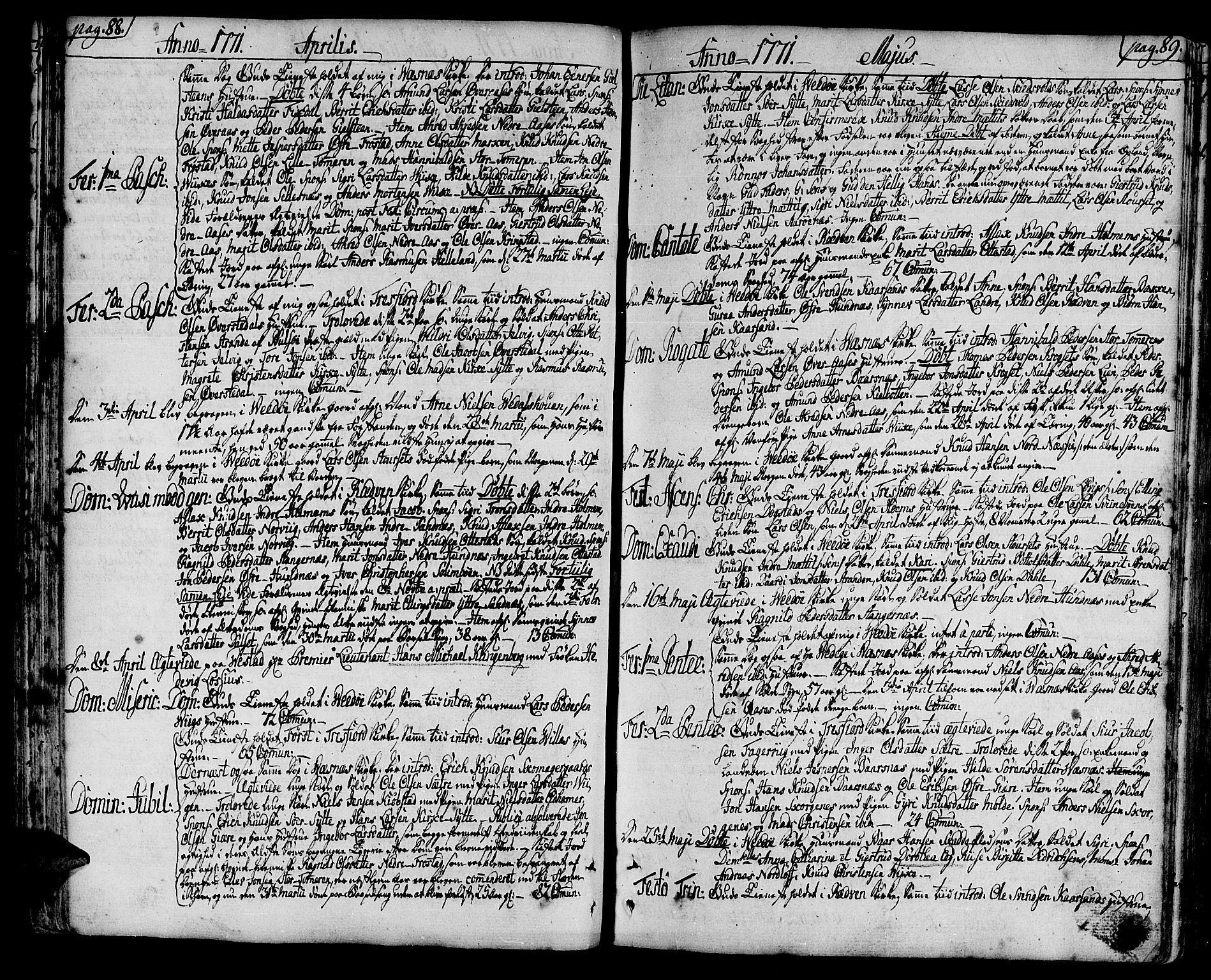 SAT, Ministerialprotokoller, klokkerbøker og fødselsregistre - Møre og Romsdal, 547/L0600: Ministerialbok nr. 547A02, 1765-1799, s. 88-89