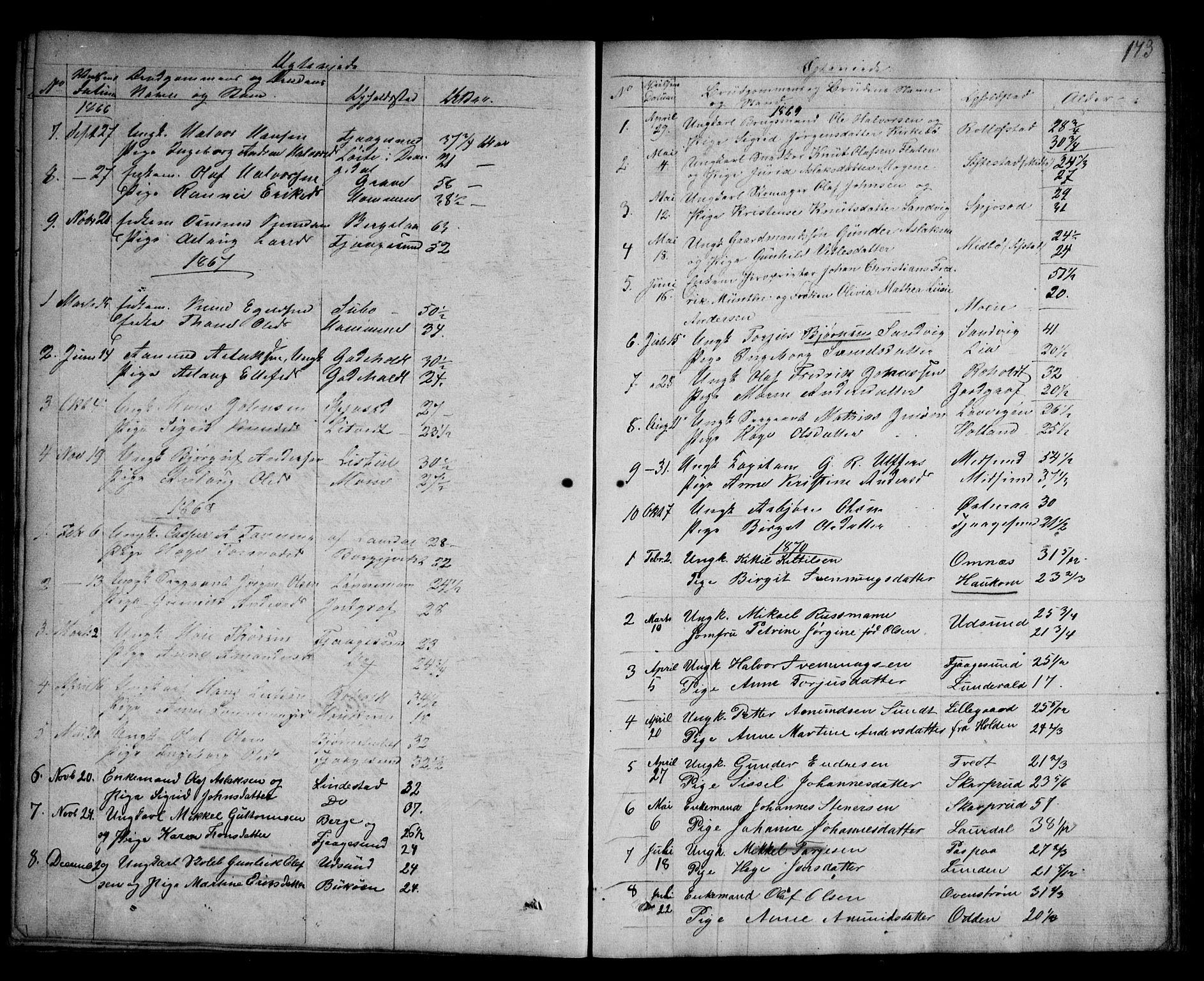 SAKO, Kviteseid kirkebøker, G/Ga/L0001: Klokkerbok nr. I 1, 1850-1893, s. 173