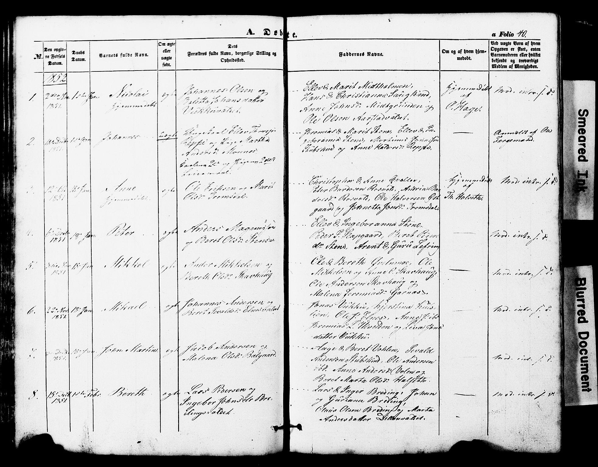 SAT, Ministerialprotokoller, klokkerbøker og fødselsregistre - Nord-Trøndelag, 724/L0268: Klokkerbok nr. 724C04, 1846-1878, s. 40