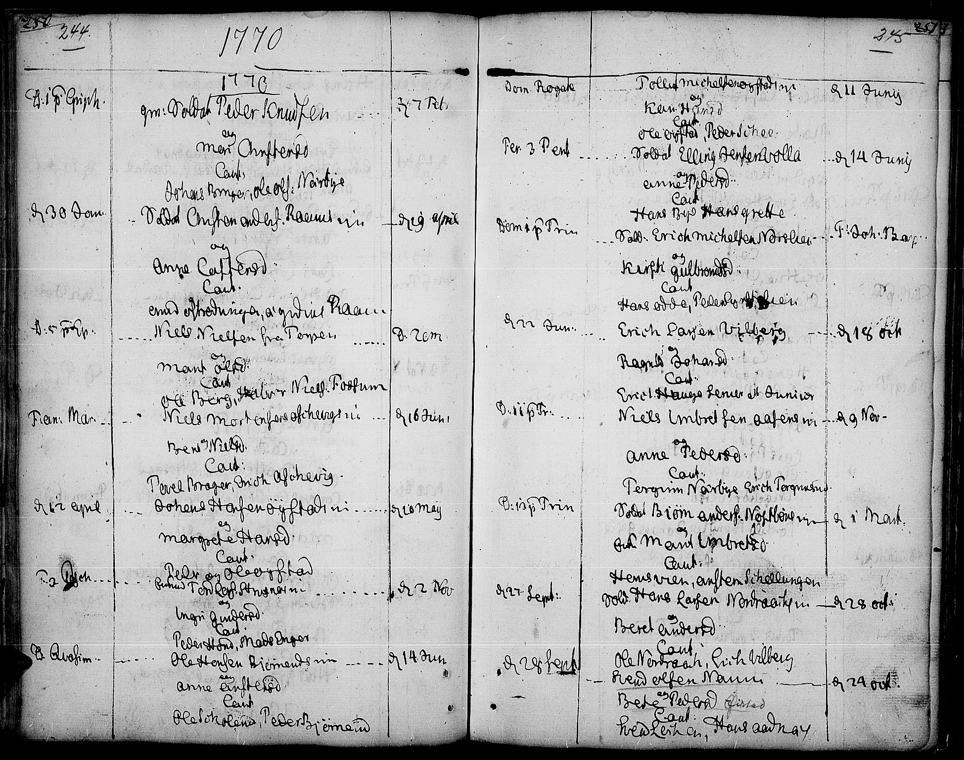 SAH, Land prestekontor, Ministerialbok nr. 5, 1765-1784, s. 244-245
