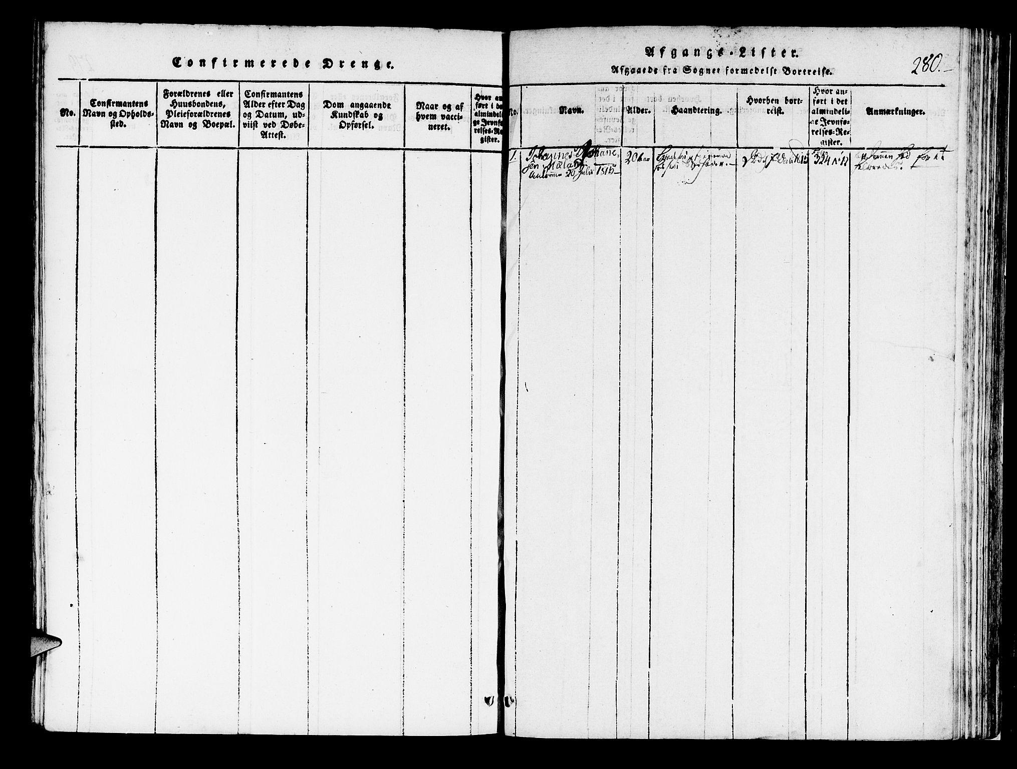SAB, Korskirken Sokneprestembete, H/Haa/L0013: Ministerialbok nr. A 13, 1815-1822, s. 280