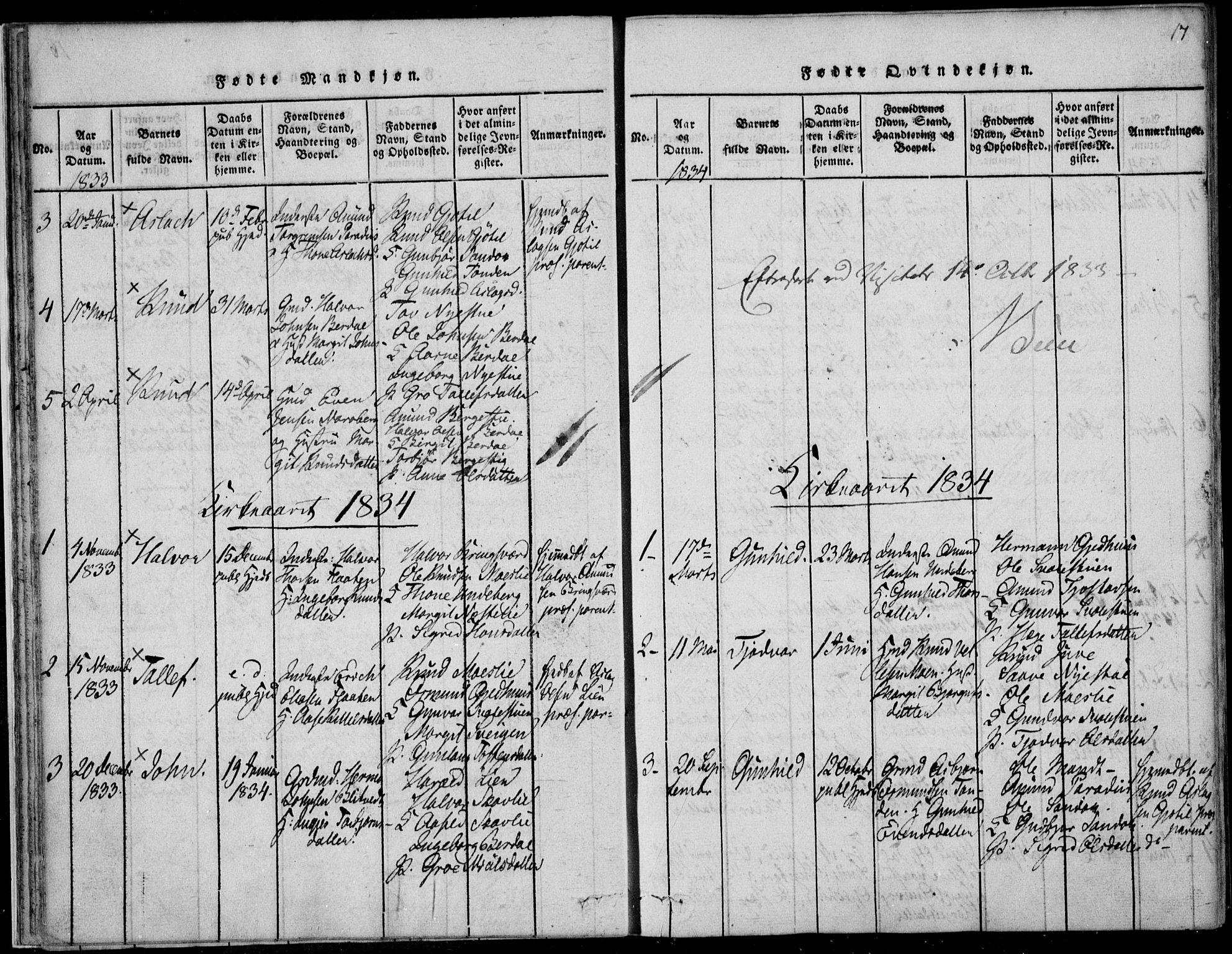 SAKO, Vinje kirkebøker, F/Fb/L0001: Ministerialbok nr. II 1, 1814-1843, s. 17