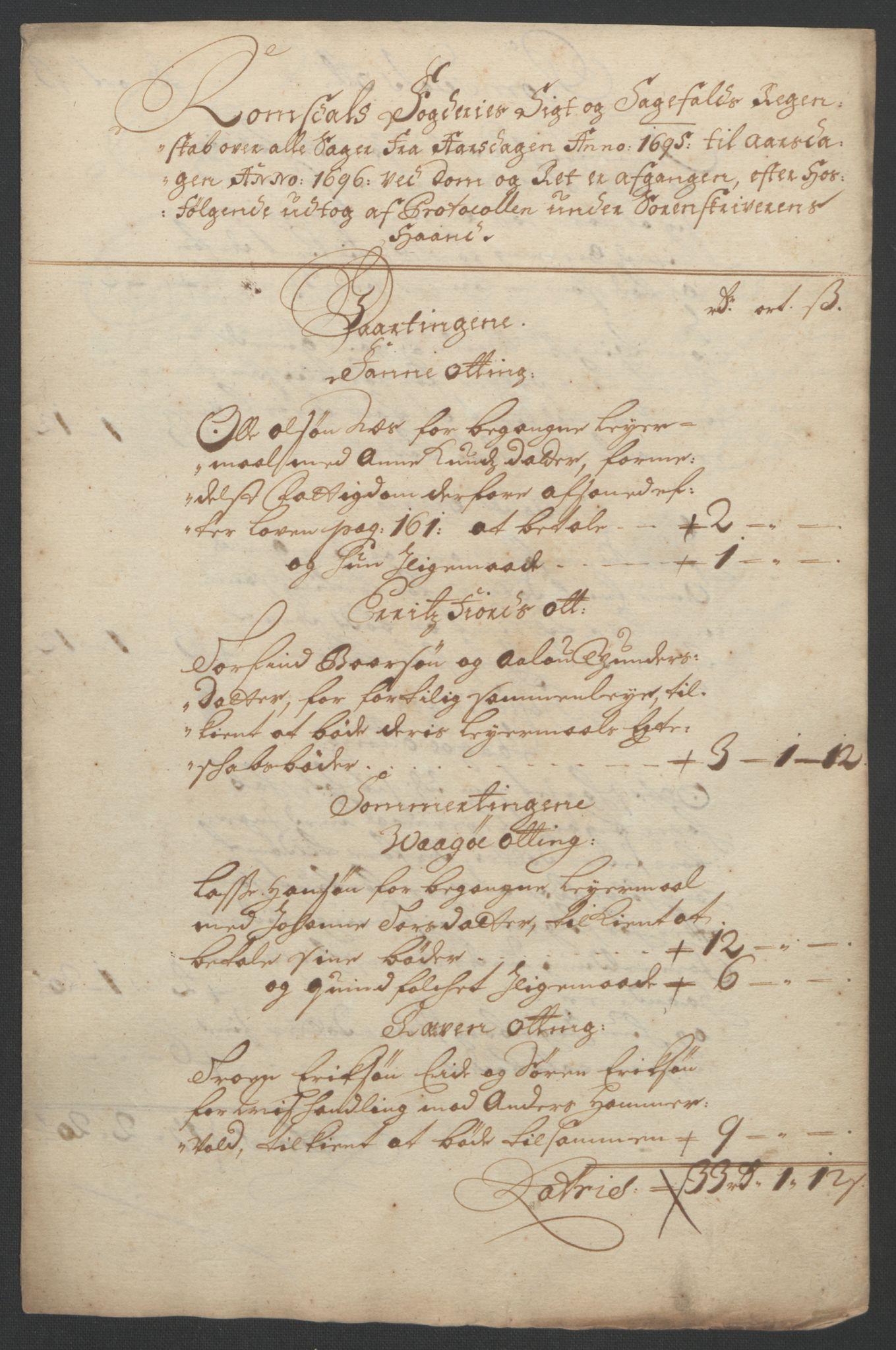 RA, Rentekammeret inntil 1814, Reviderte regnskaper, Fogderegnskap, R55/L3652: Fogderegnskap Romsdal, 1695-1696, s. 122