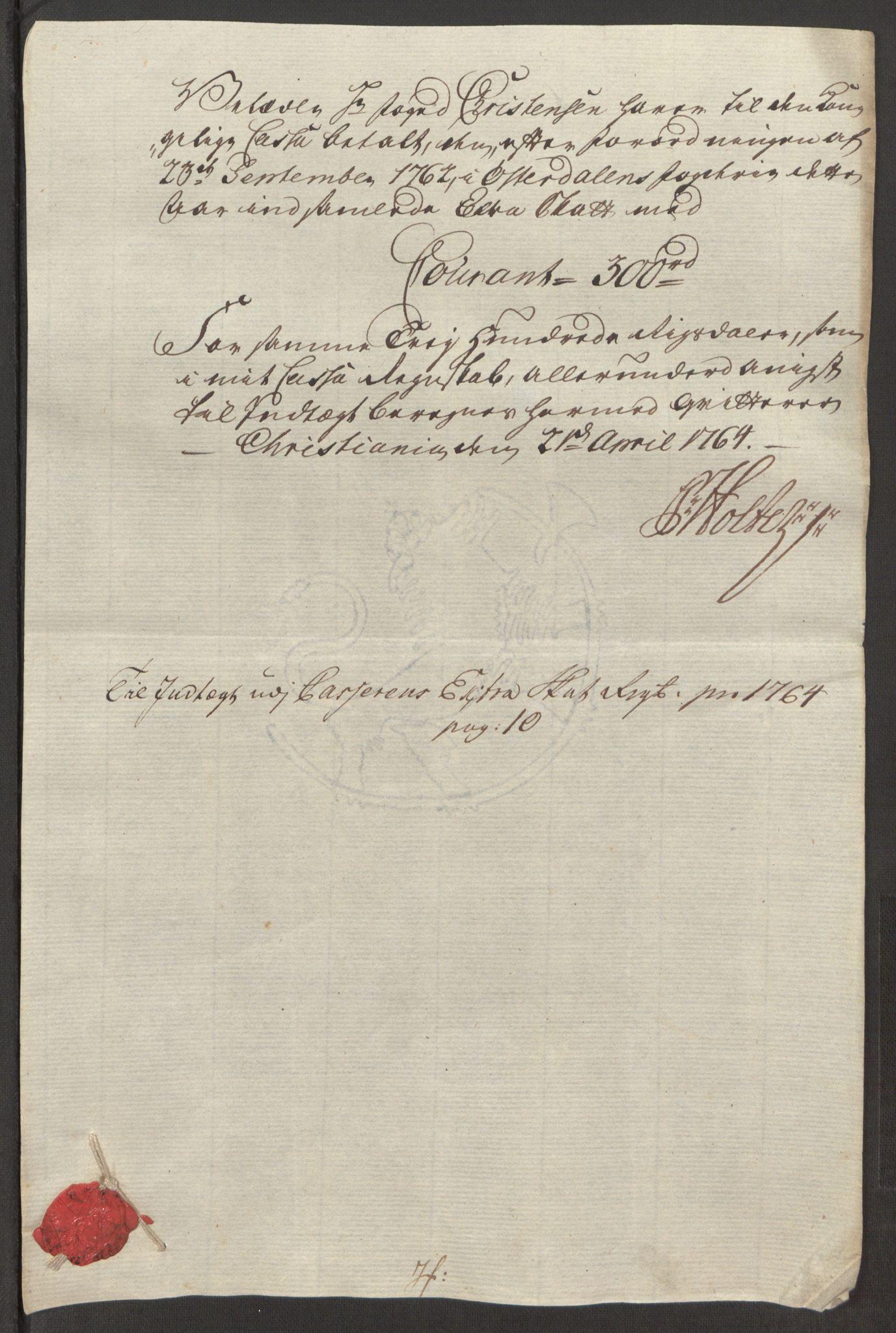RA, Rentekammeret inntil 1814, Reviderte regnskaper, Fogderegnskap, R15/L1014: Ekstraskatten Østerdal, 1762-1764, s. 524